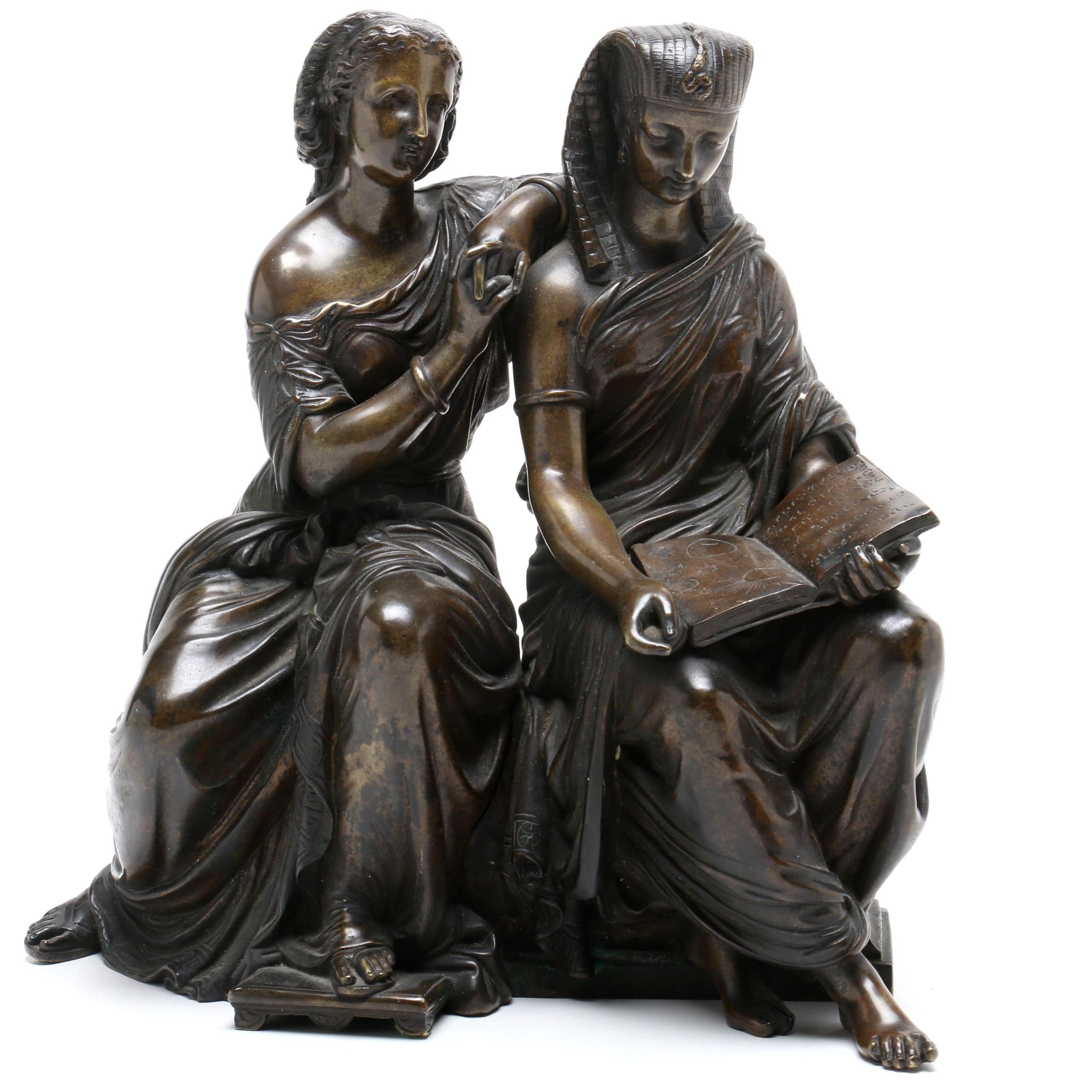 """Duchoiselle 19th Century Cast Bronze Sculpture """"La Leçon D'Astronomie"""""""