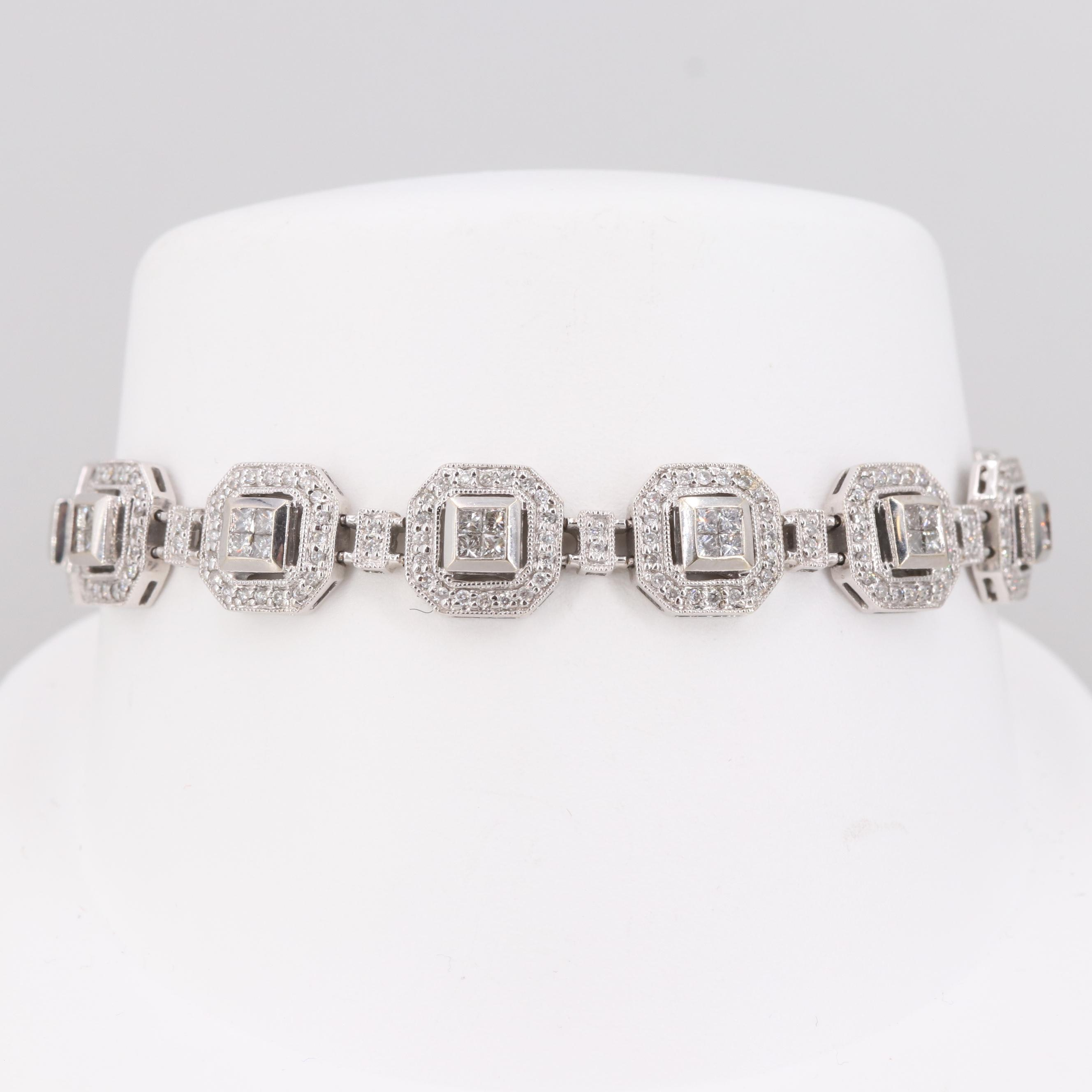 14K White Gold 2.50 CTW Diamond Link Bracelet
