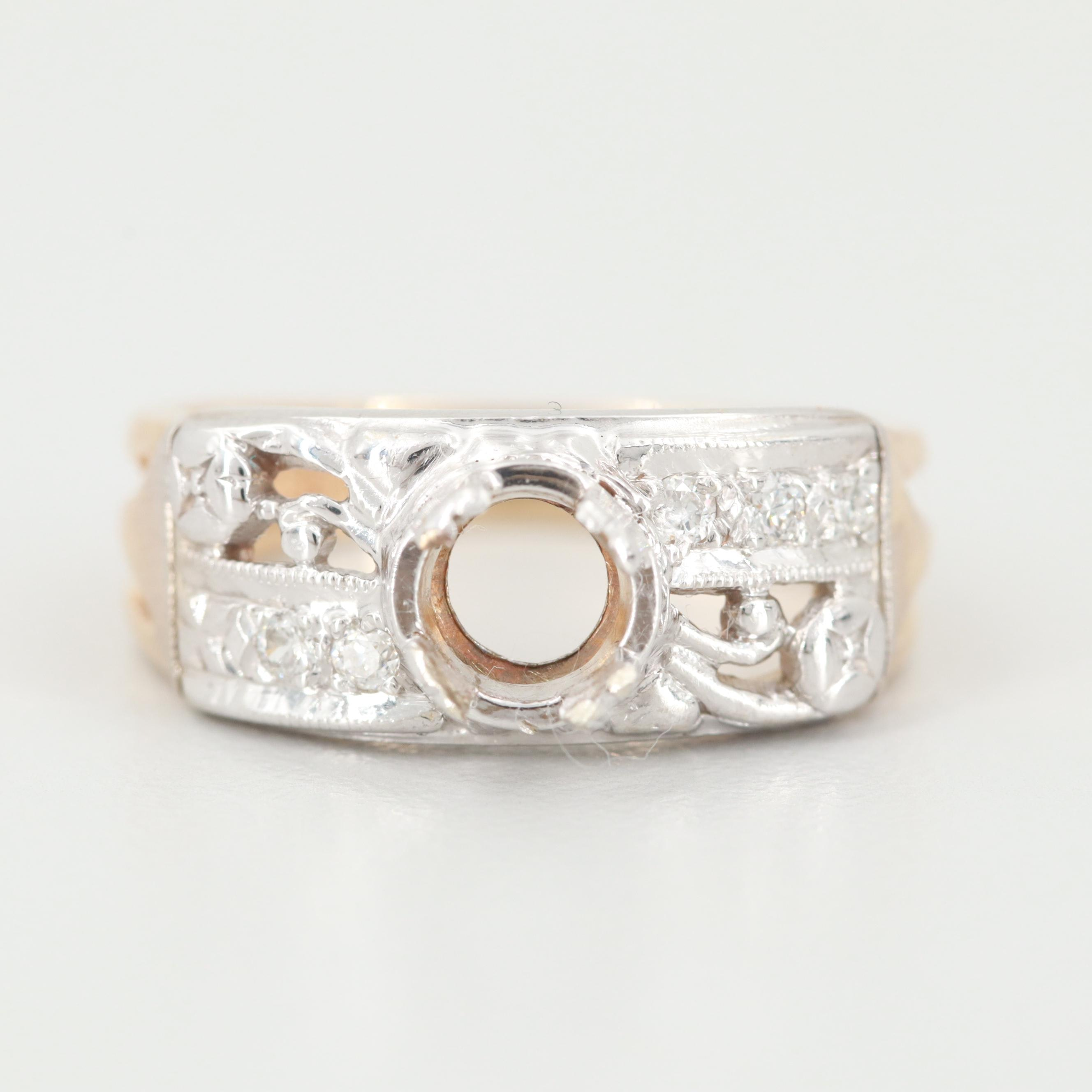 14K Yellow and White Gold Diamond Semi Mount Ring