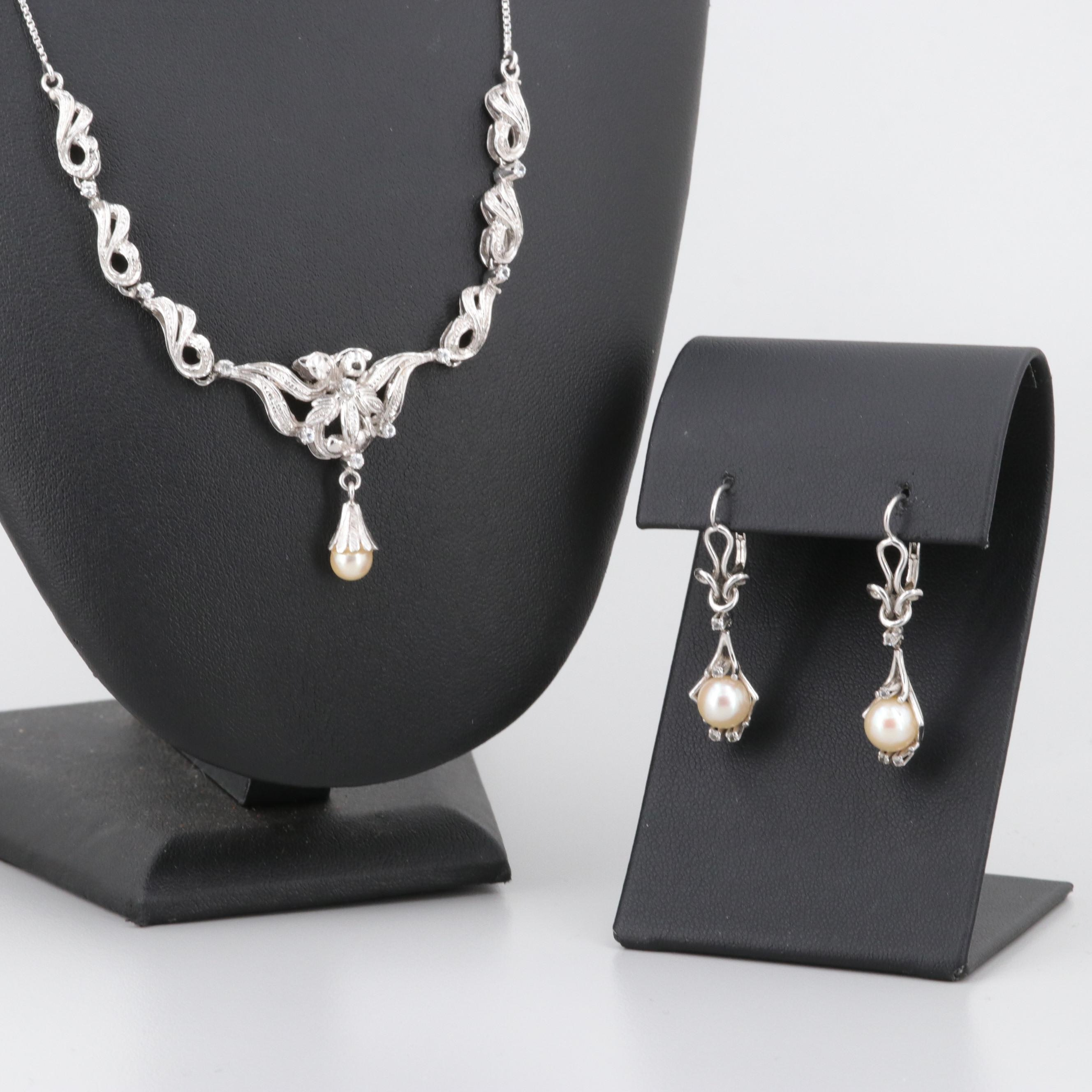 Vintage 18K White Gold Cultured Pearl and White Topaz Necklace and Earrings