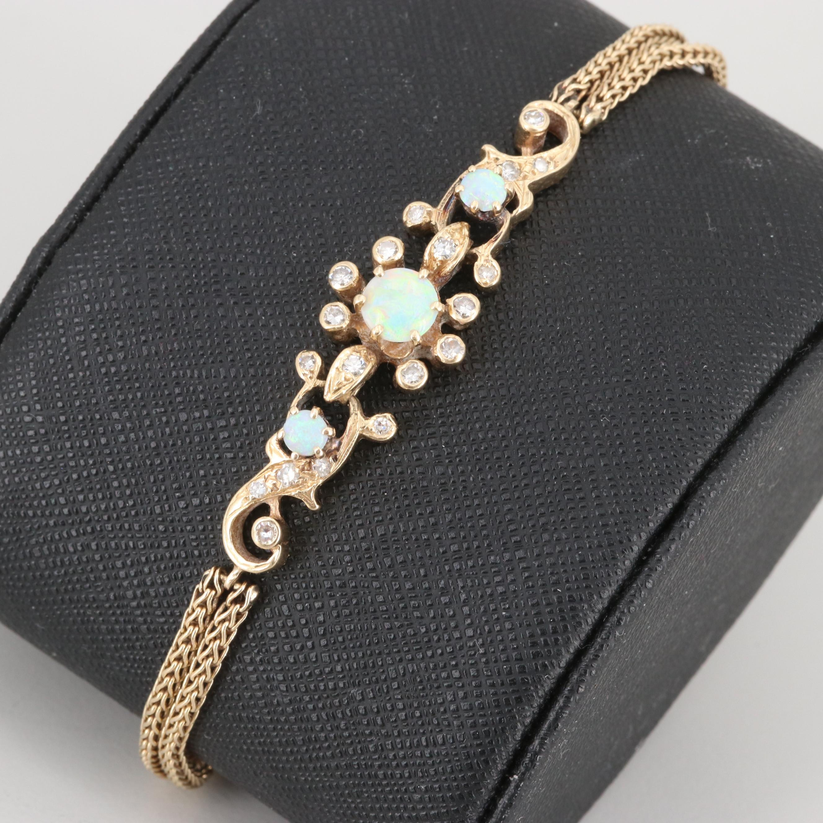 Vintage 14K Yellow Gold Opal and Diamond Bracelet