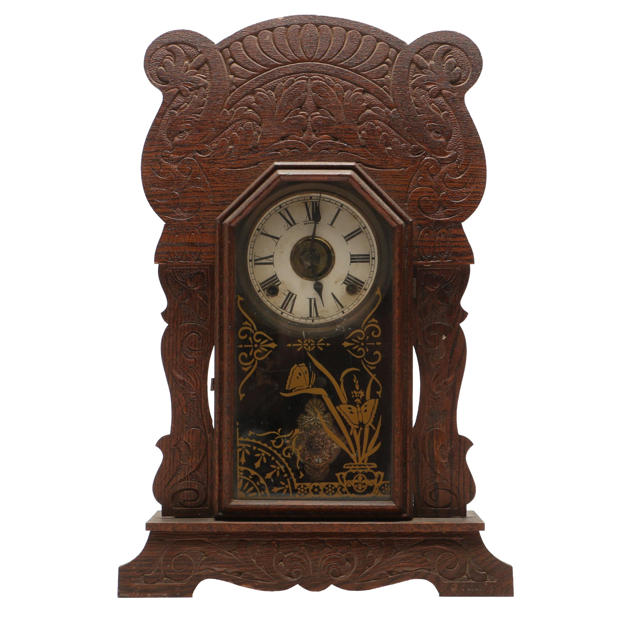 Sessions Pressed Oak Eight Day Half Hour Strike Mantel Clock, Late Victorian