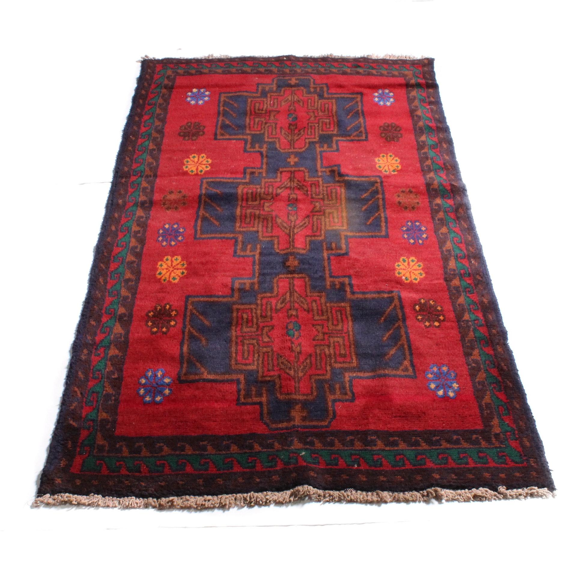 3'4 x 6'5 Hand-Knotted Afghan Kazak Rug