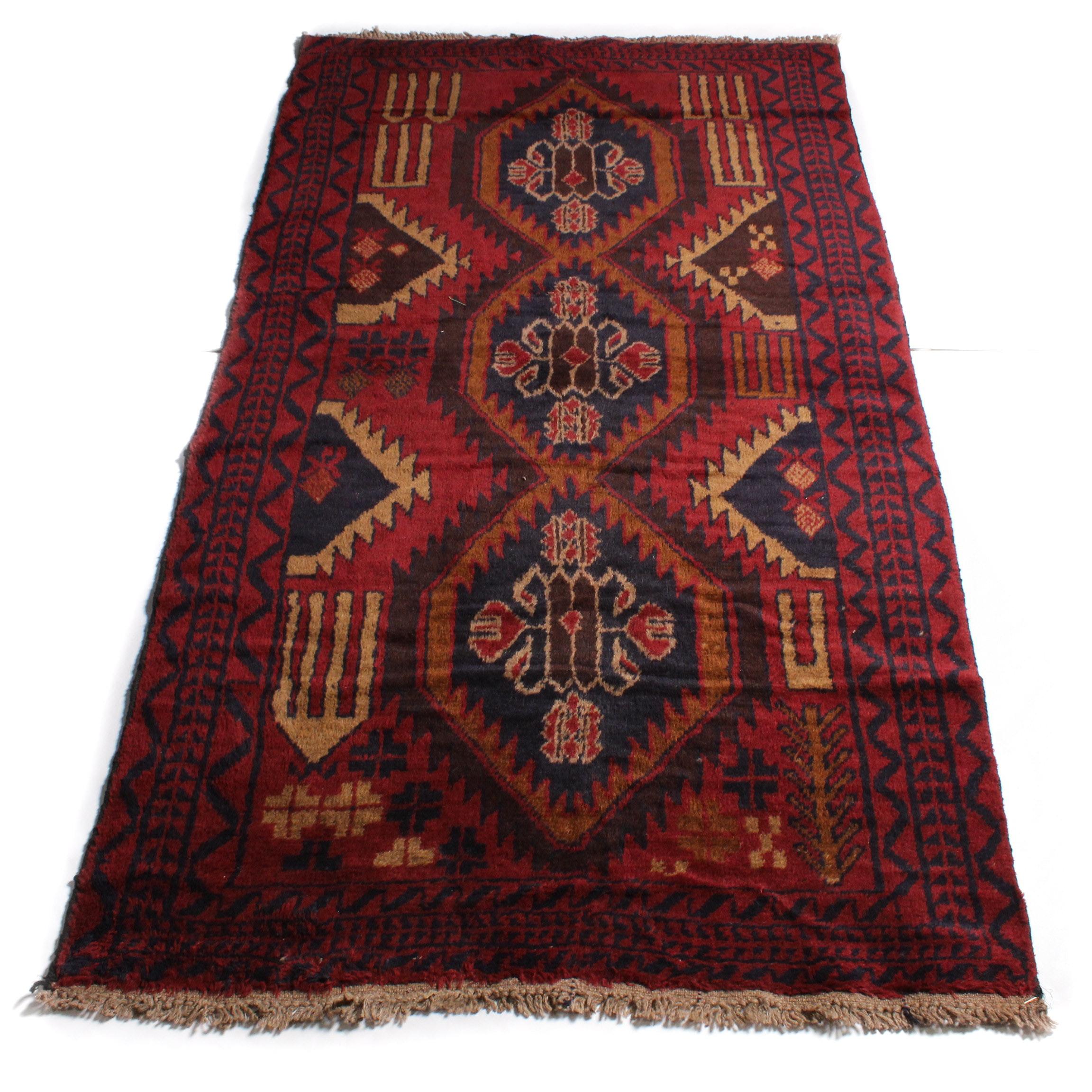 3'6 x 6'8 Hand-Knotted Afghan Kazak Rug
