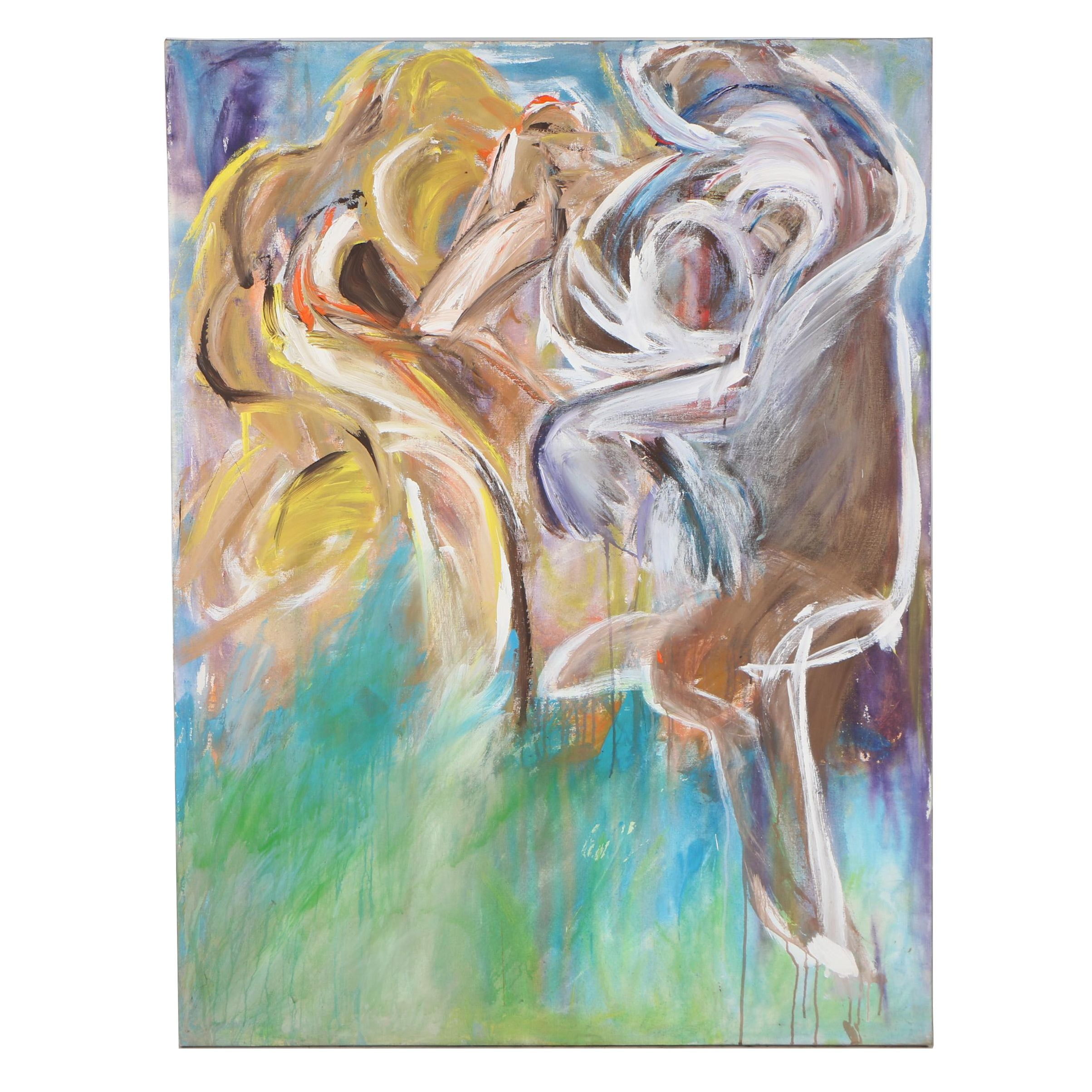 """Esther Liu 1981 Abstract Acrylic Painting """"Together II"""""""