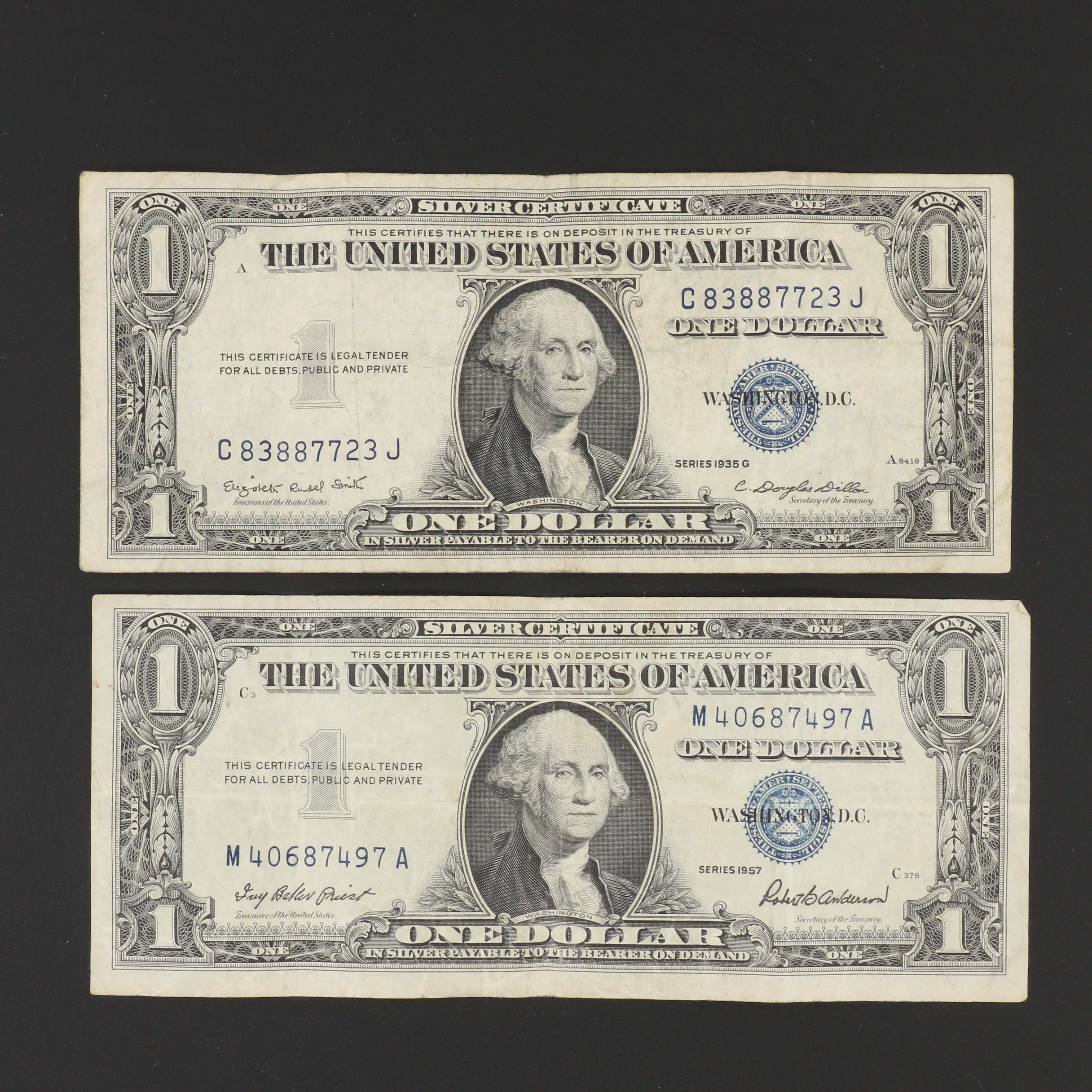 Group of Two U.S. $1 Silver Certificates