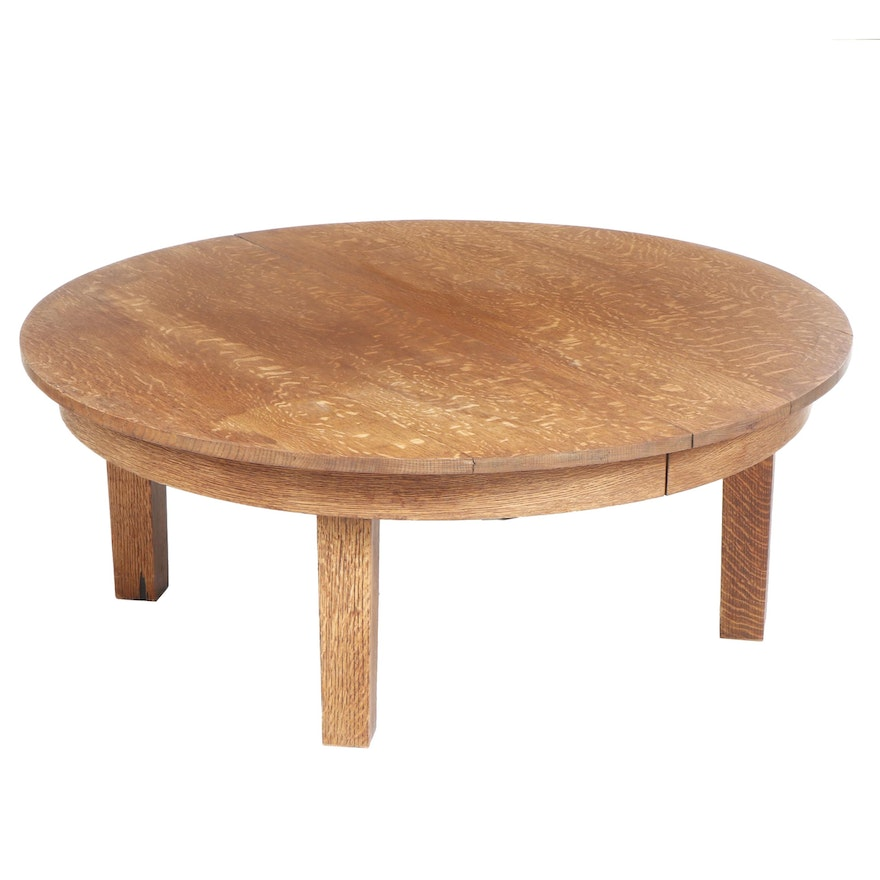 Admirable Round Oak Coffee Table Made From A Salvaged Victorian Table Top 20Th C Pabps2019 Chair Design Images Pabps2019Com