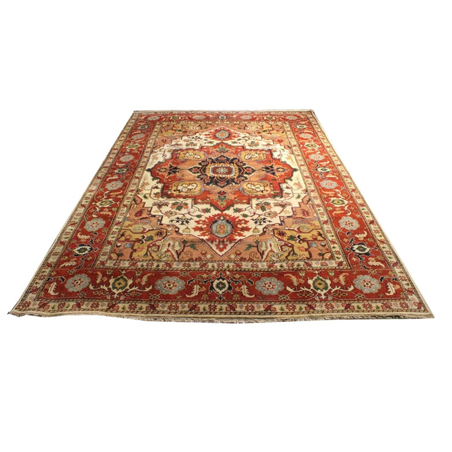 Hand Knotted Indo Persian Obeetee Wool Area Rug Ebth: 9'9 X 14'0 Hand-Knotted Indo-Persian Heriz Serapi Room