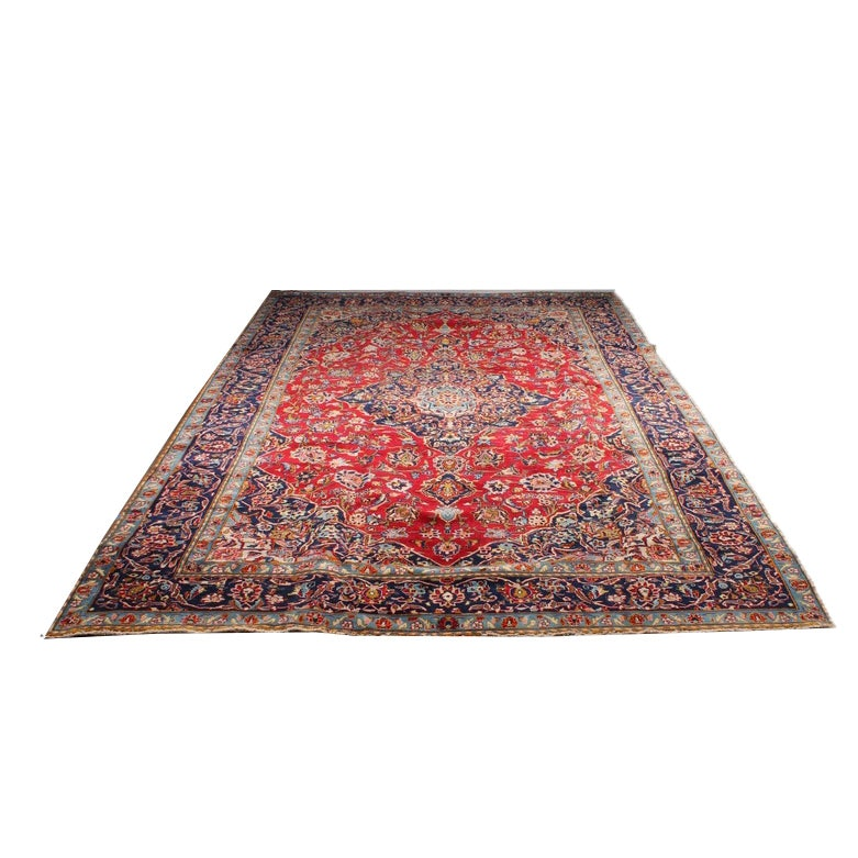 8'0 x 12'6 Hand-Knotted Persian Kashan Room Size Rug