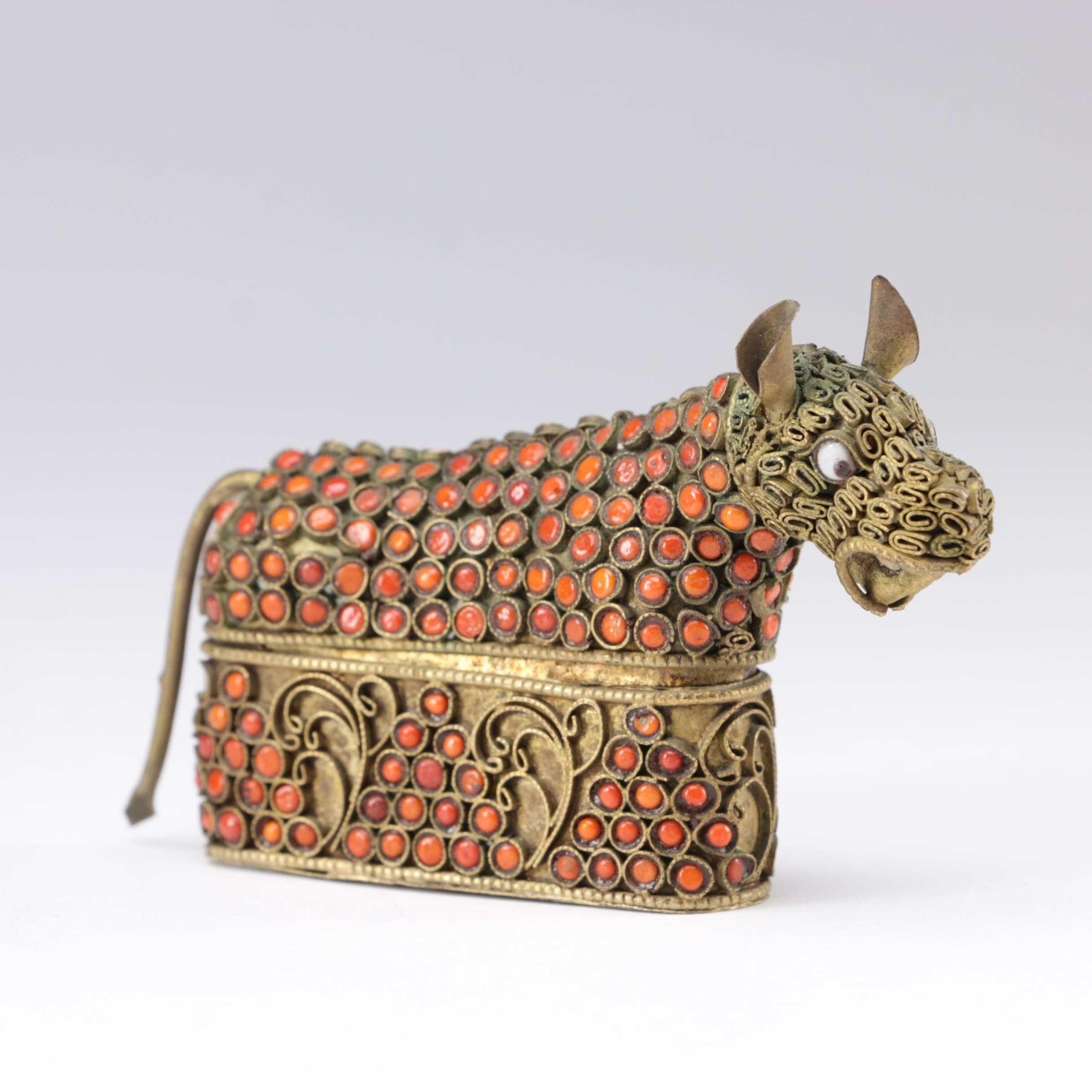Tibetan Brass and Coral Bull-Form Trinket Box