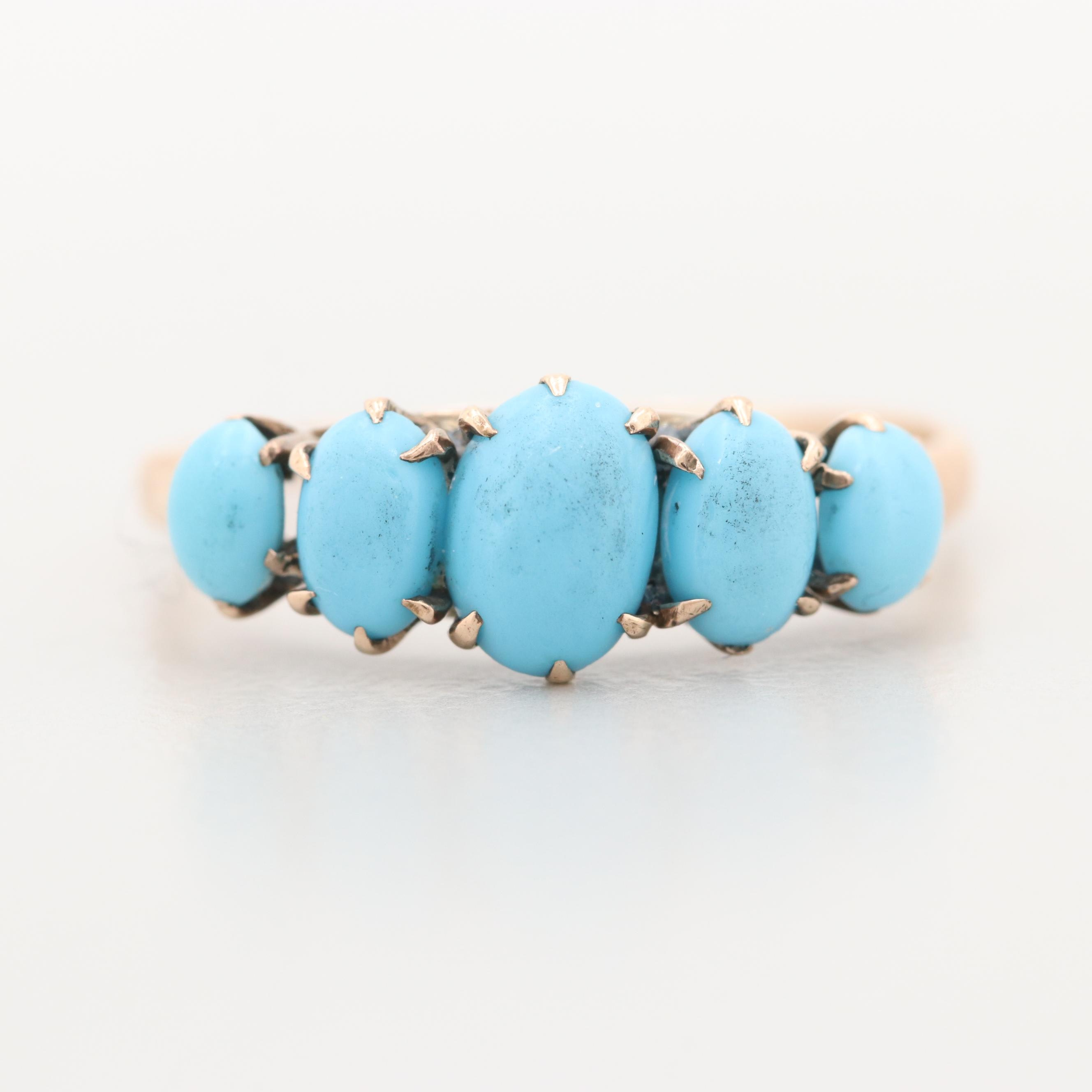 Victorian 10K Yellow Gold Imitation Turquoise Ring