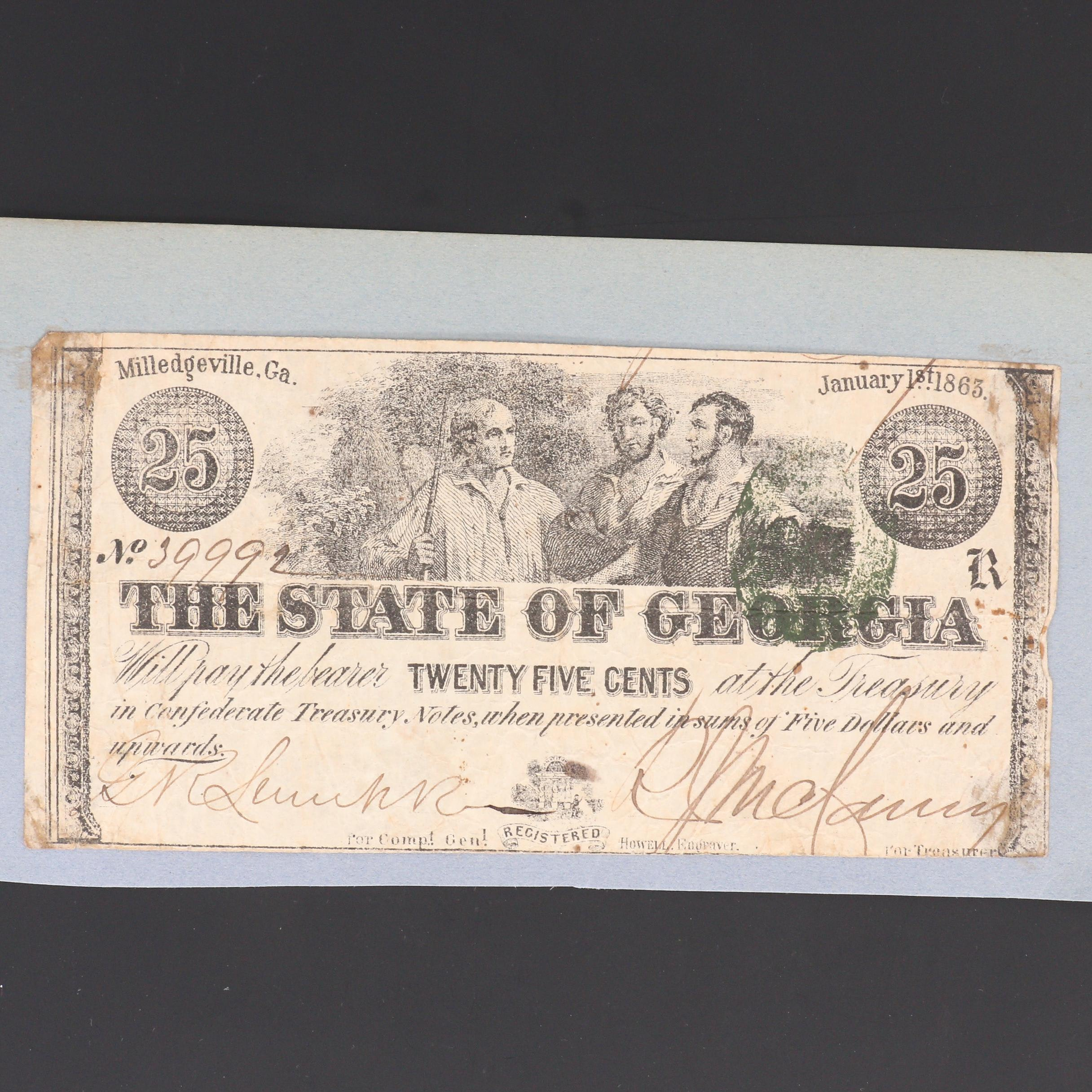 25-Cent Fractional Obsolete Banknote From Milledgeville, Georgia, 1863