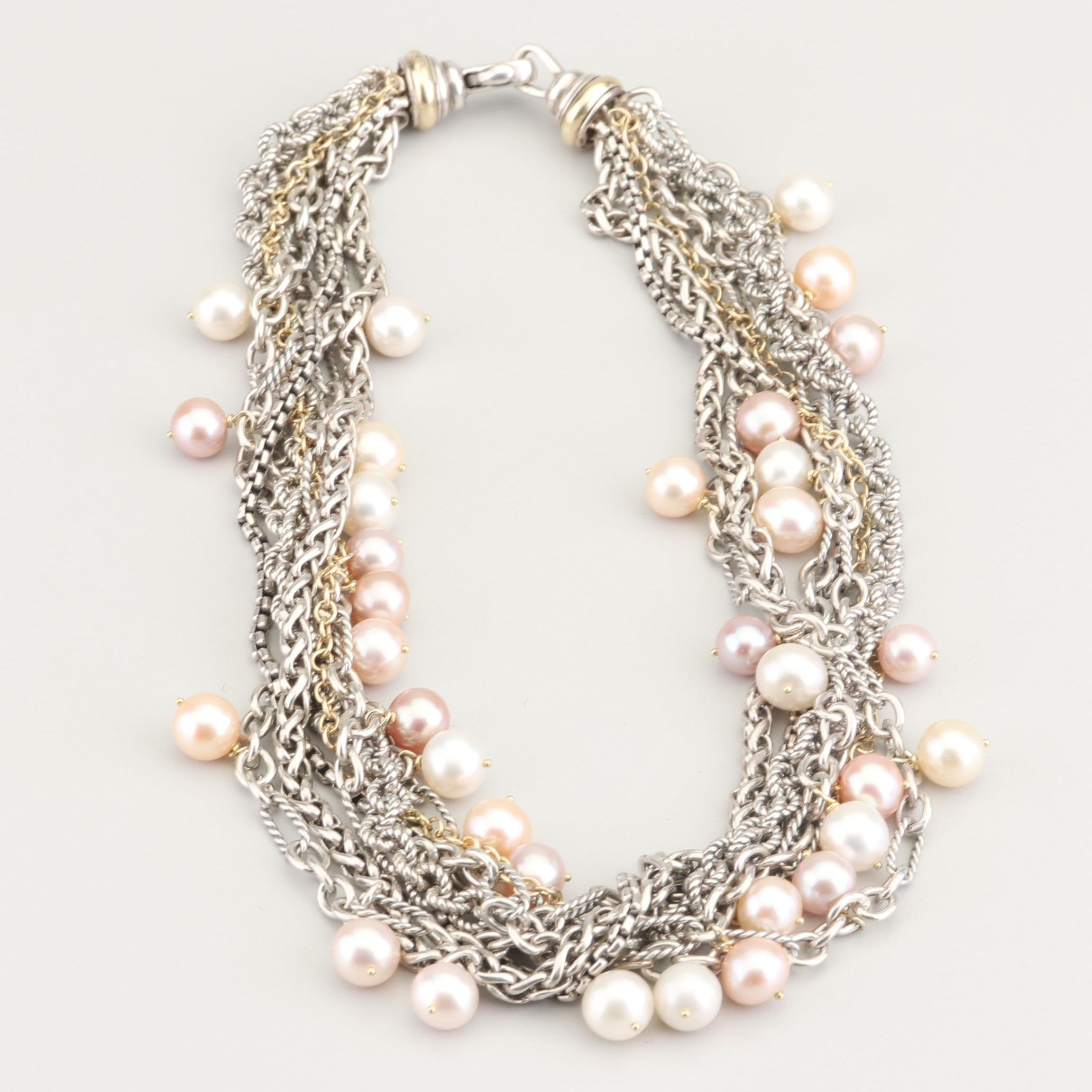 David Yurman Sterling Silver 18K Gold Freshwater Cultured Pearl Necklace