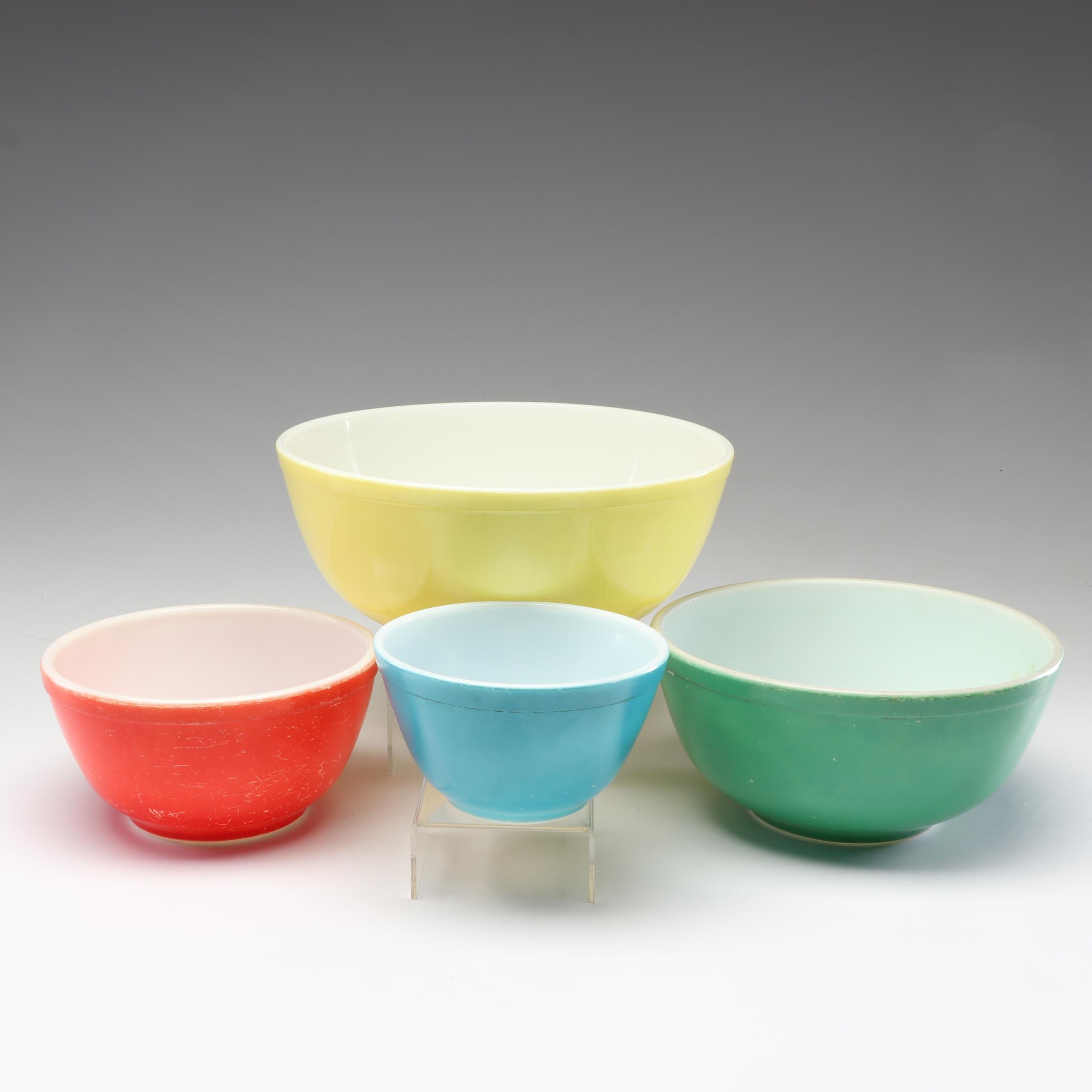 """Pyrex """"Primary Colors"""" Nesting Mixing Bowls, Mid-Century"""
