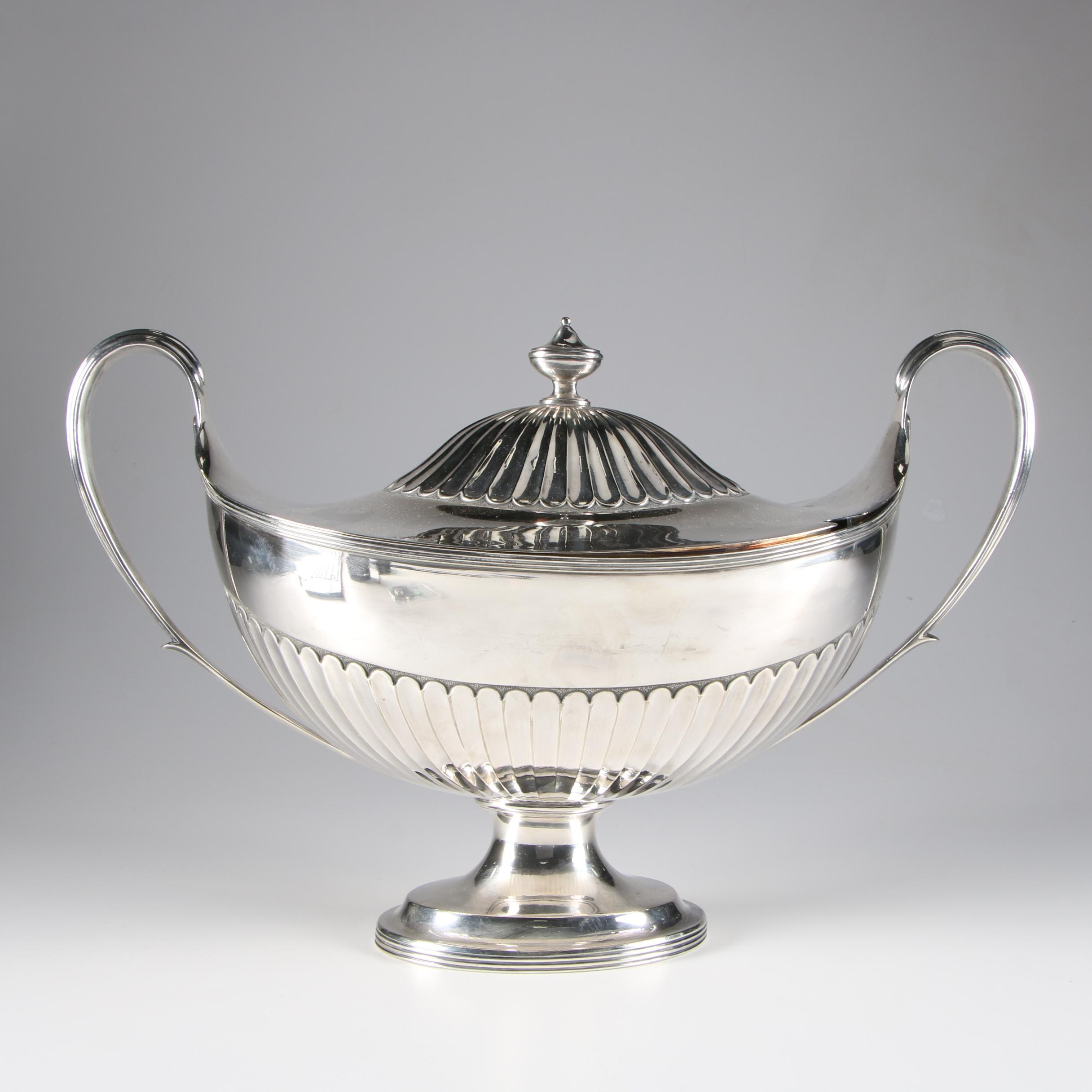 Martin, Hall & Co George III Style Silver Plate Covered Tureen