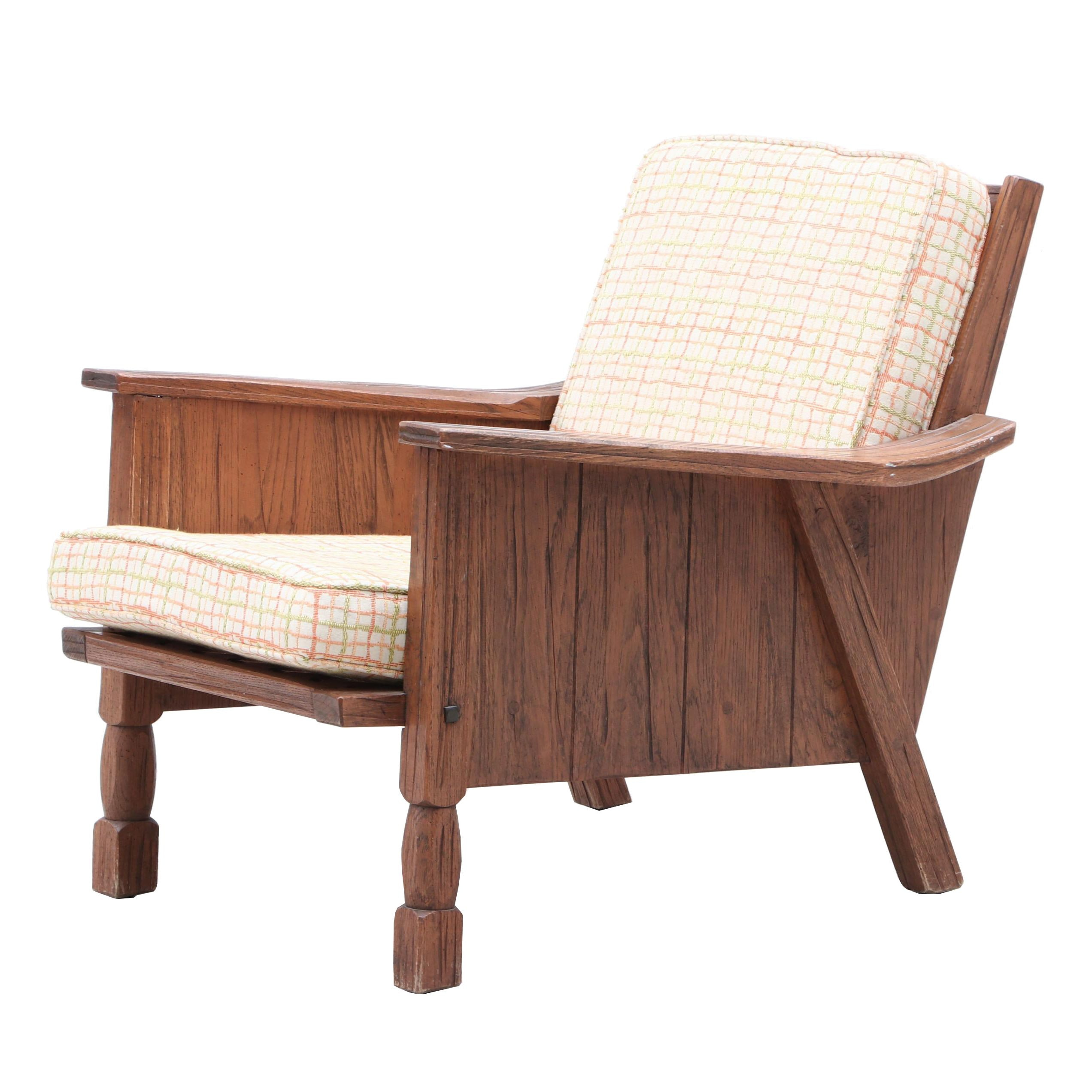 Rustic Oak Armchair, Middle 20th Century