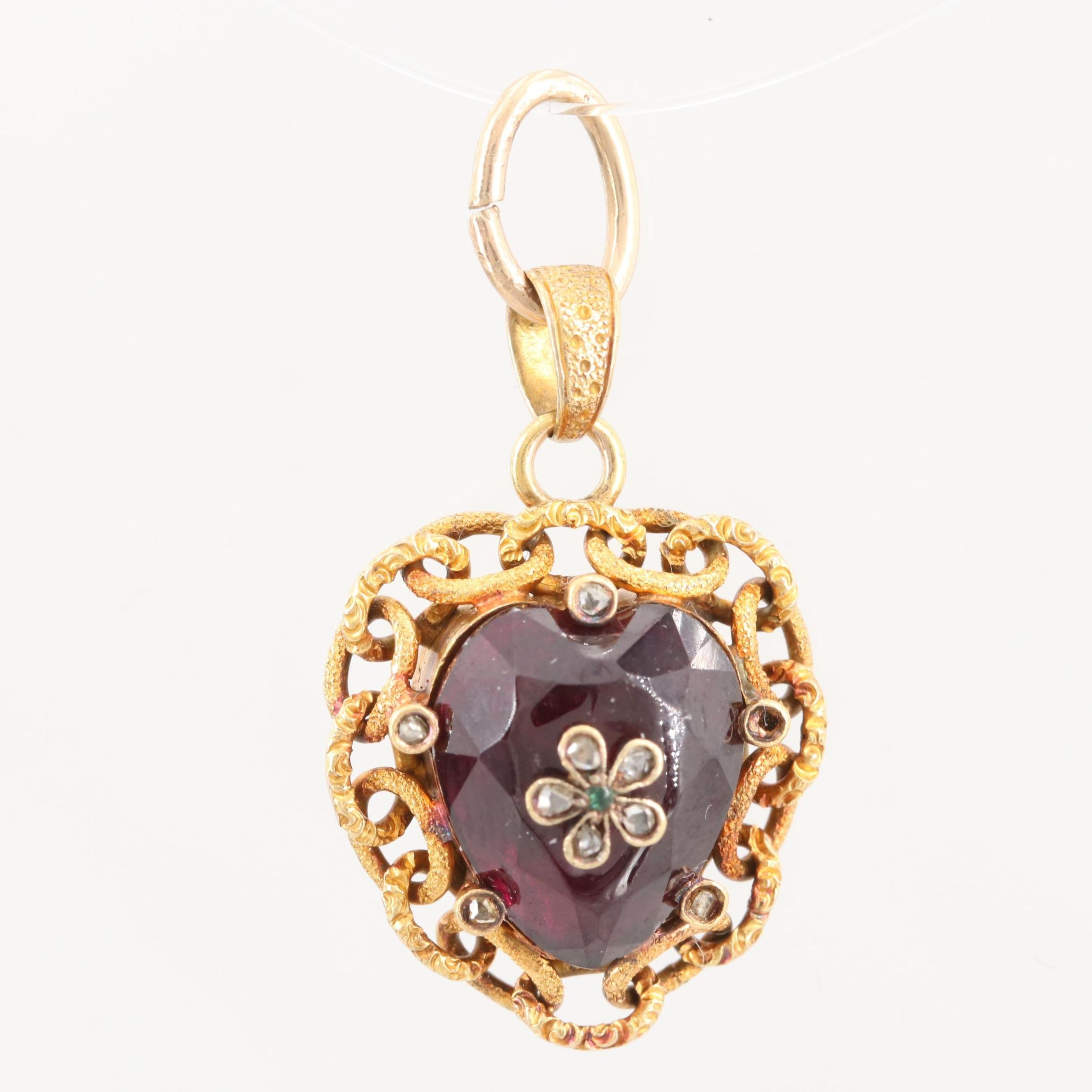 Victorian 14K Yellow Gold Rhodolite Garnet Locket Pendant with Diamond Accents