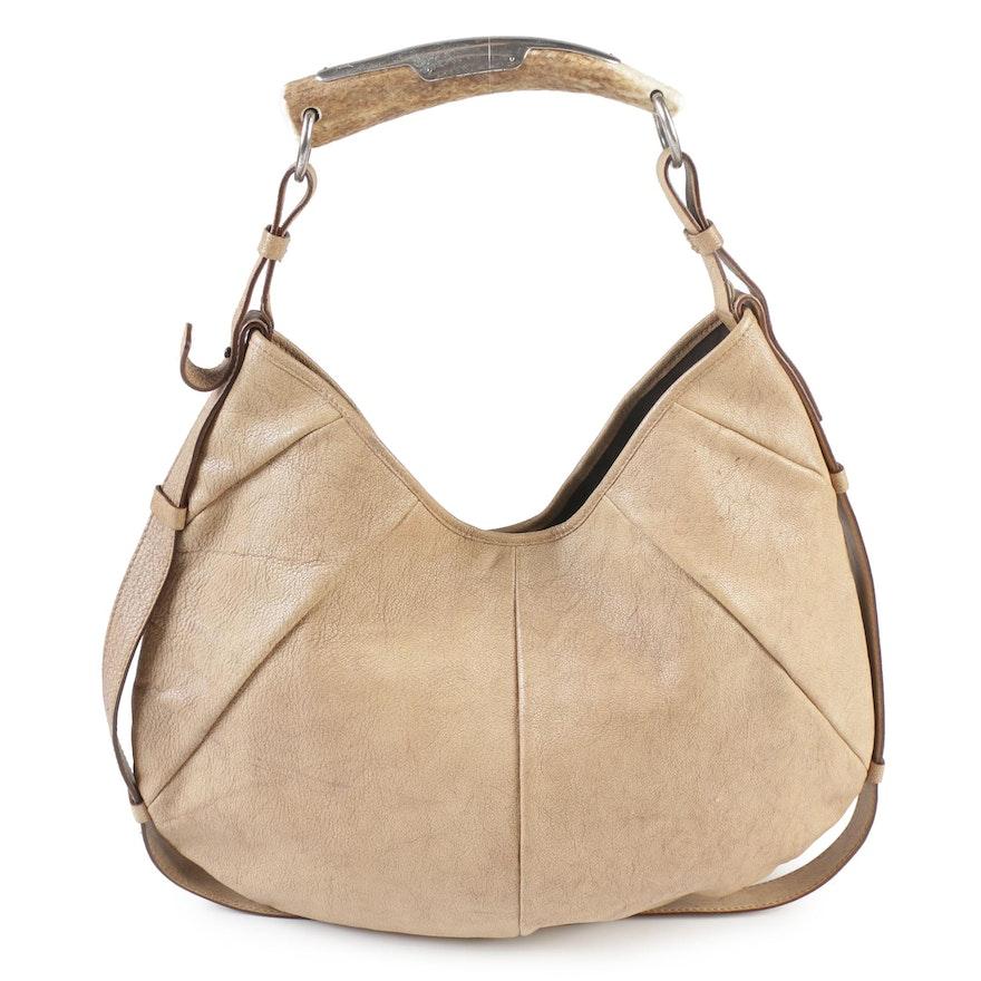 763832279df5 Yves Saint Laurent Rive Gauche Distressed Beige Mombasa Leather Horn Hobo  Bag ...