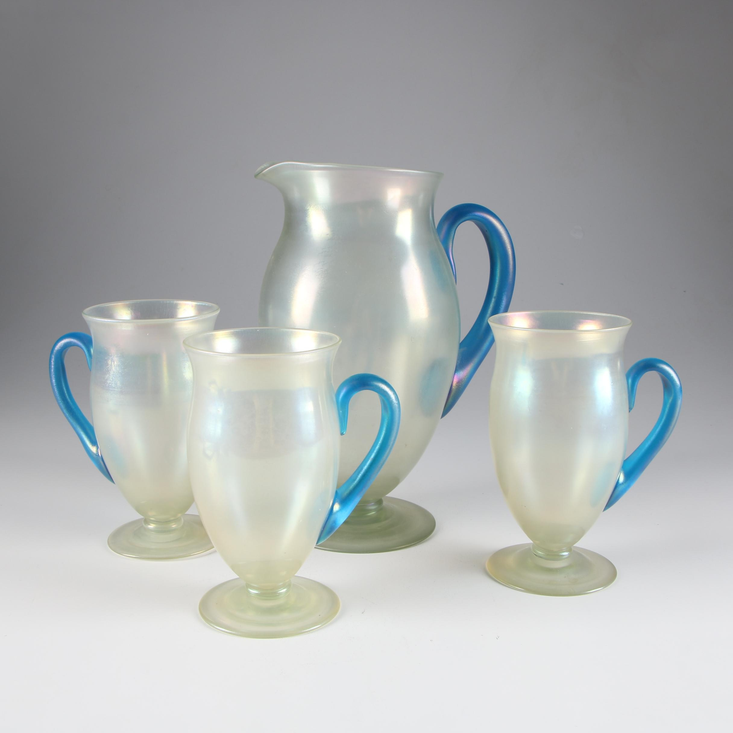 Steuben Cyprian and Celeste Blue Art Glass Pitcher and Lemonade Glasses