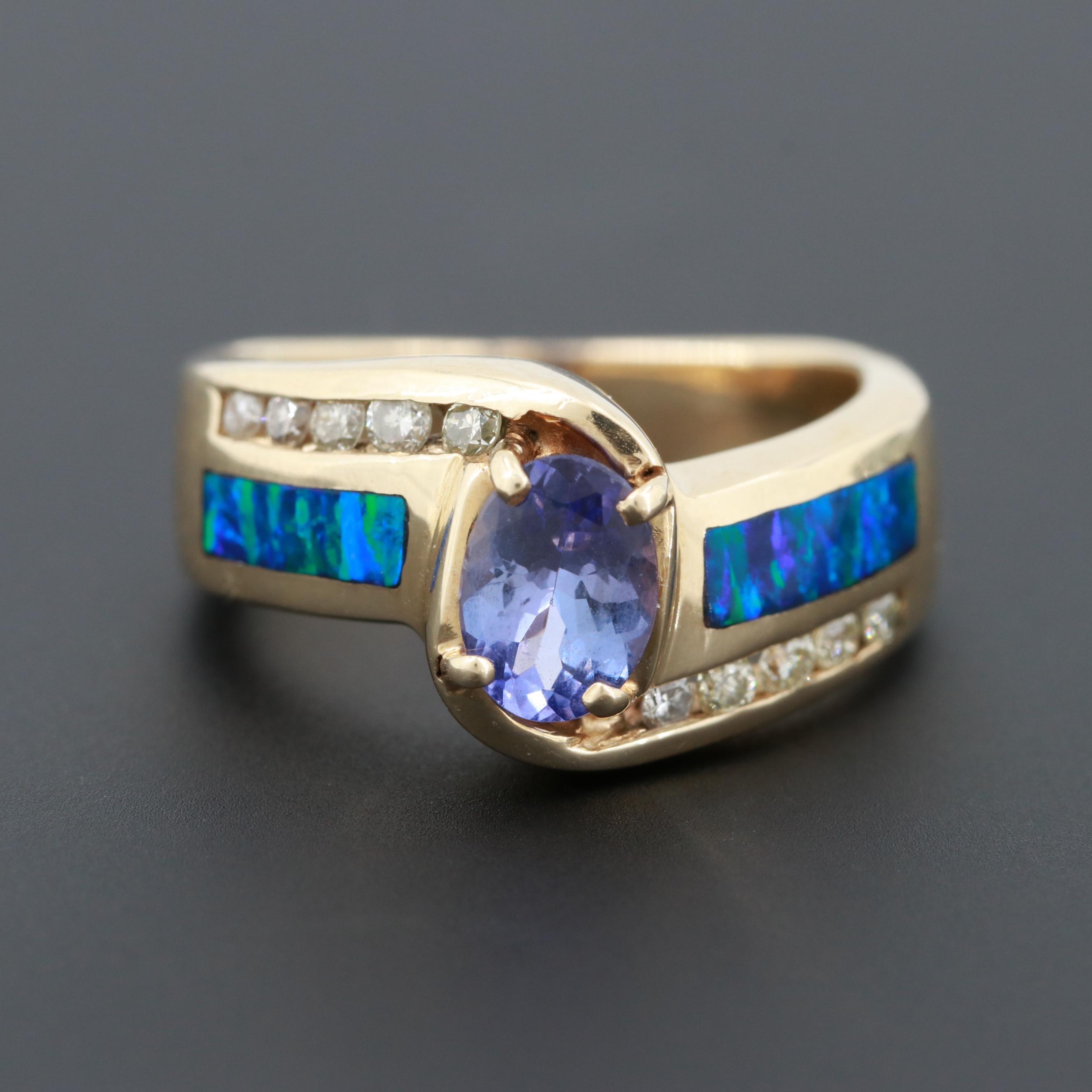 14K Yellow Gold Tanzanite, Diamond and Synthetic Opal Ring