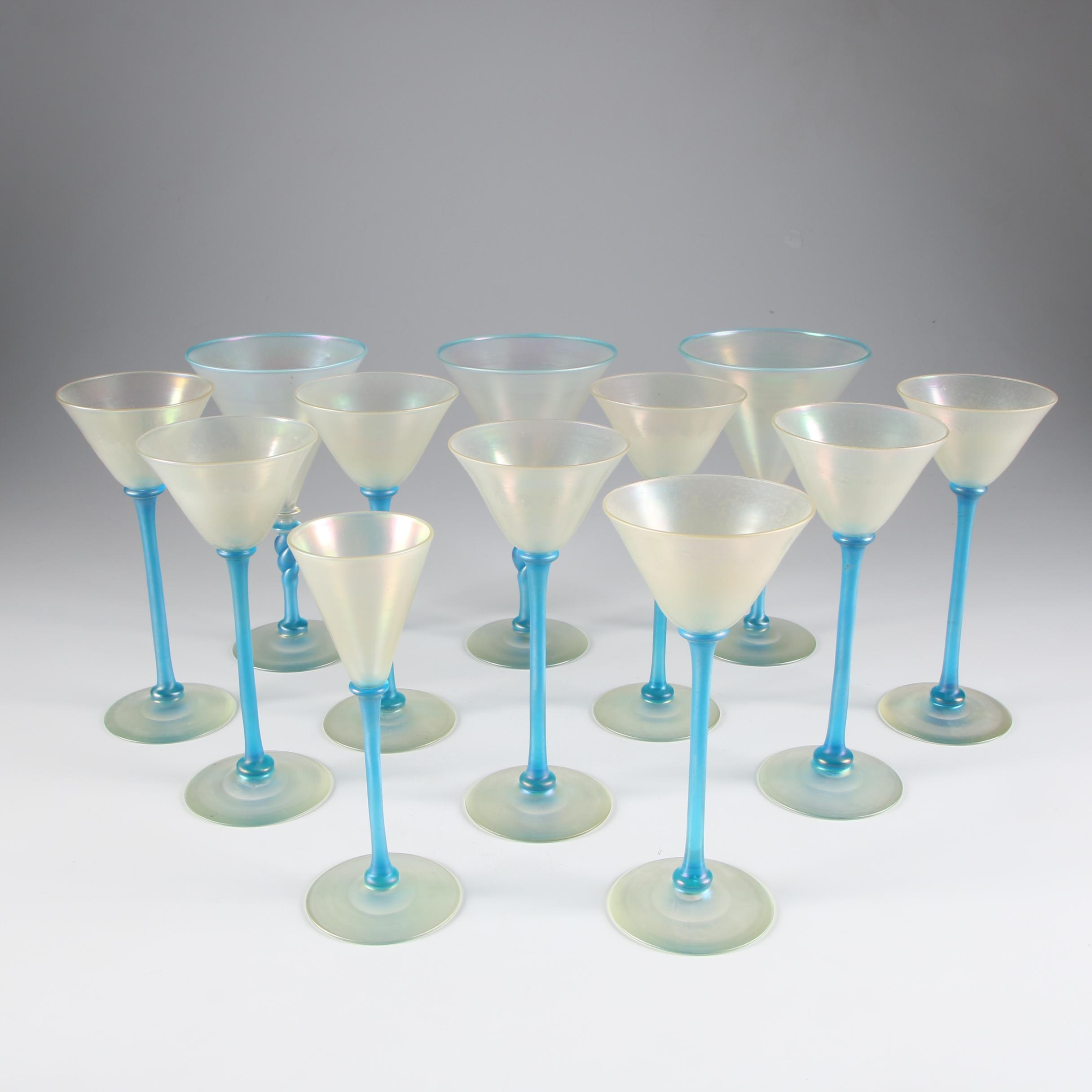 Steuben Cyprian and Celeste Blue Art Glass Stemware, Early 20th Century