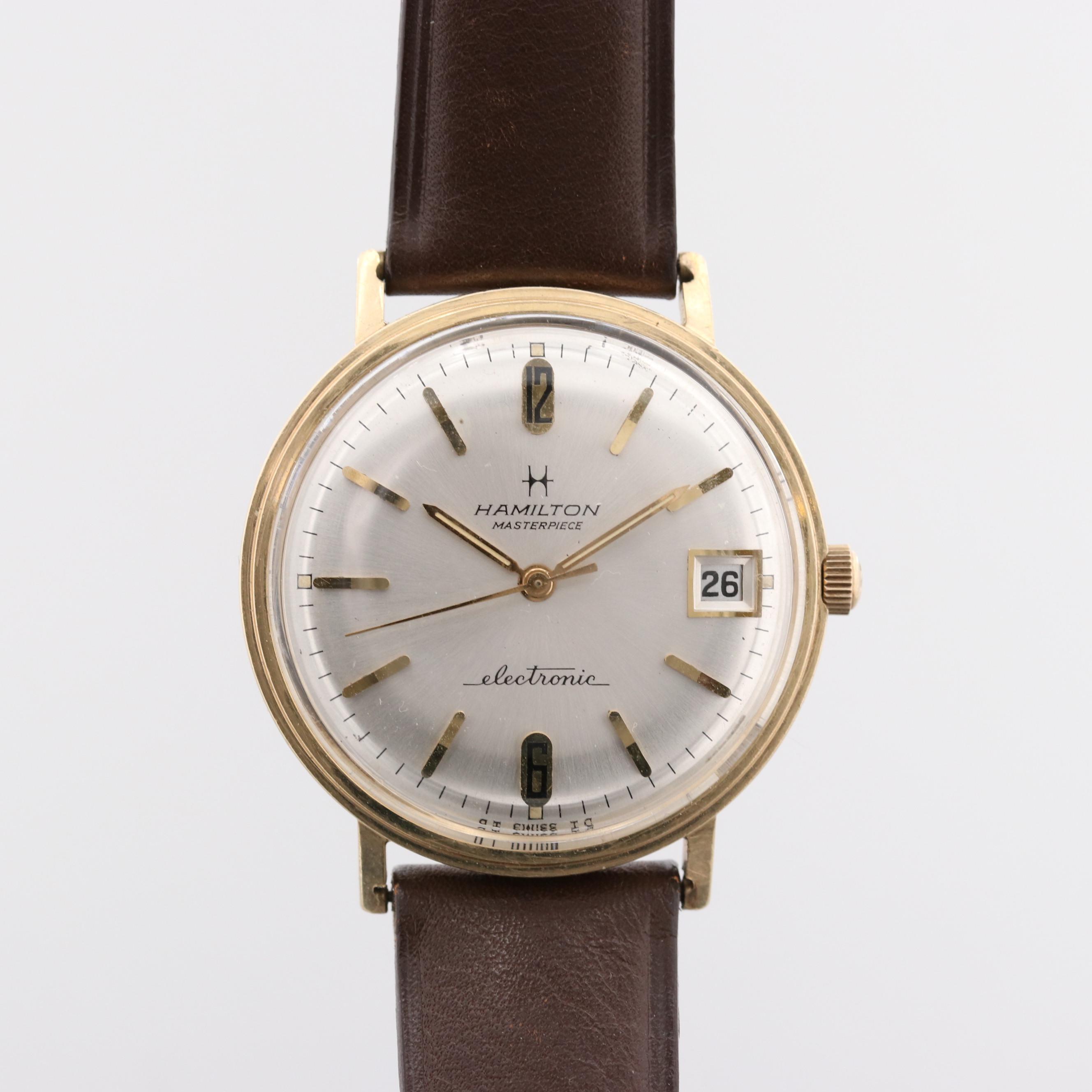 Hamilton Masterpiece 14K Yellow Gold Electronic Wristwatch With Date Window