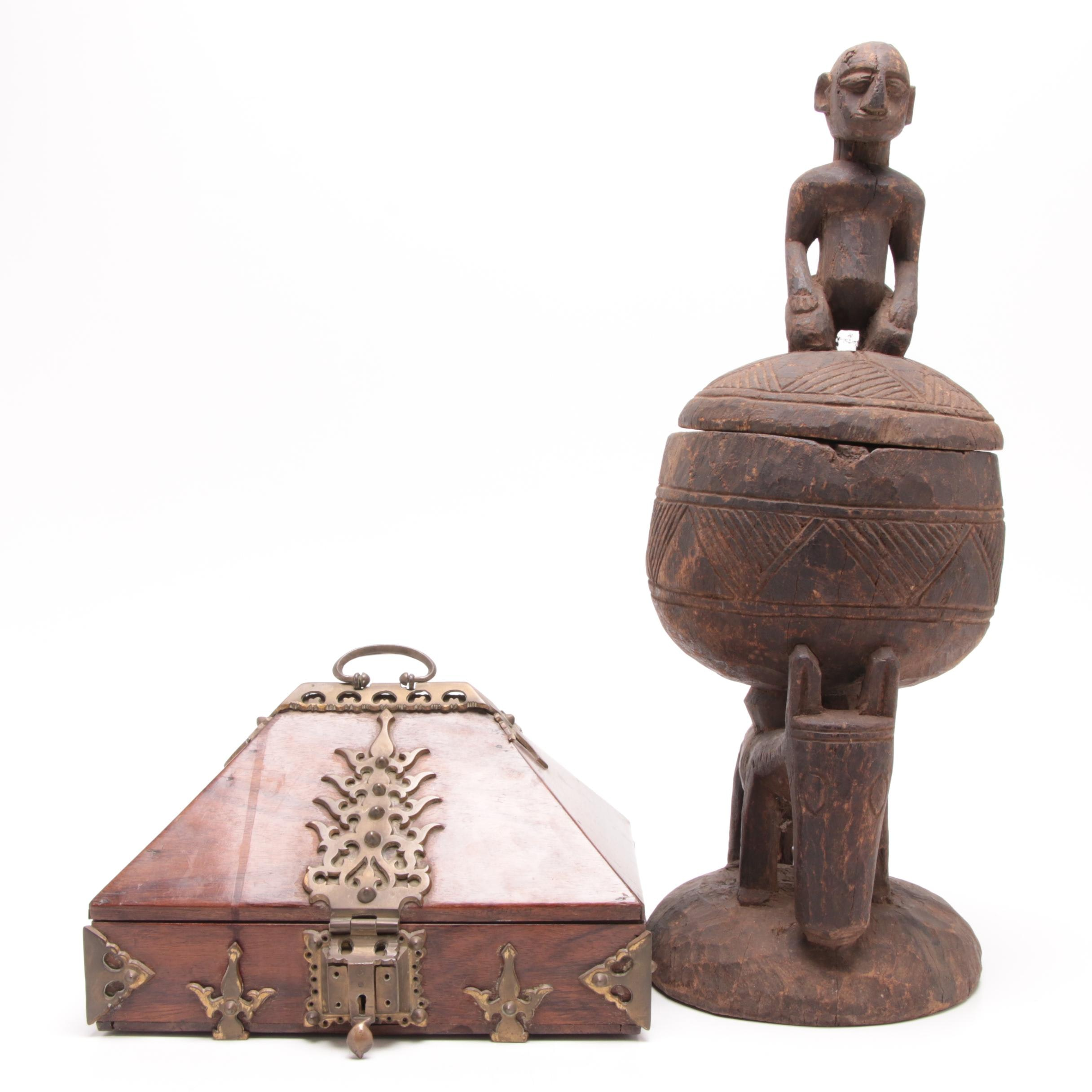 Carved Malian Ceremonial Box with Brass Mounted Indian Writing Box