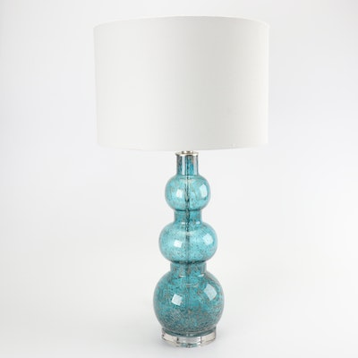 Textured Blue and Grey Stacked Glass Table Lamp with Fabric Drum Shade