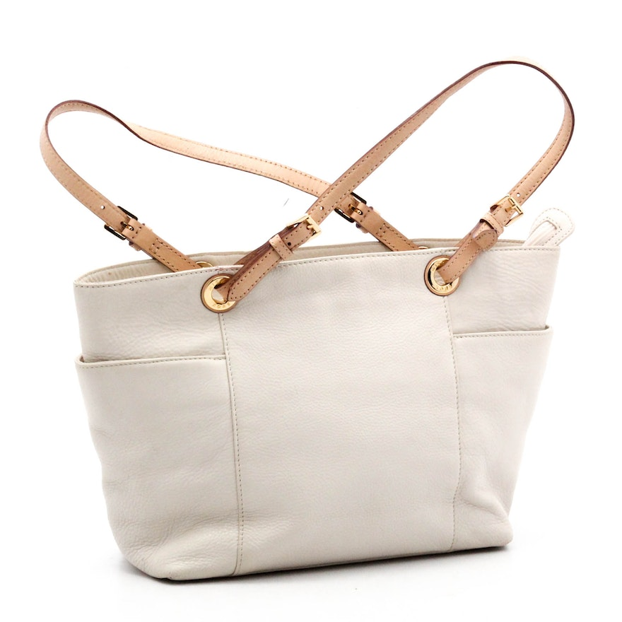 4cf33ac7b3d8 MICHAEL Michael Kors White Grained Leather Tote Bag with Natural Leather  Straps : EBTH