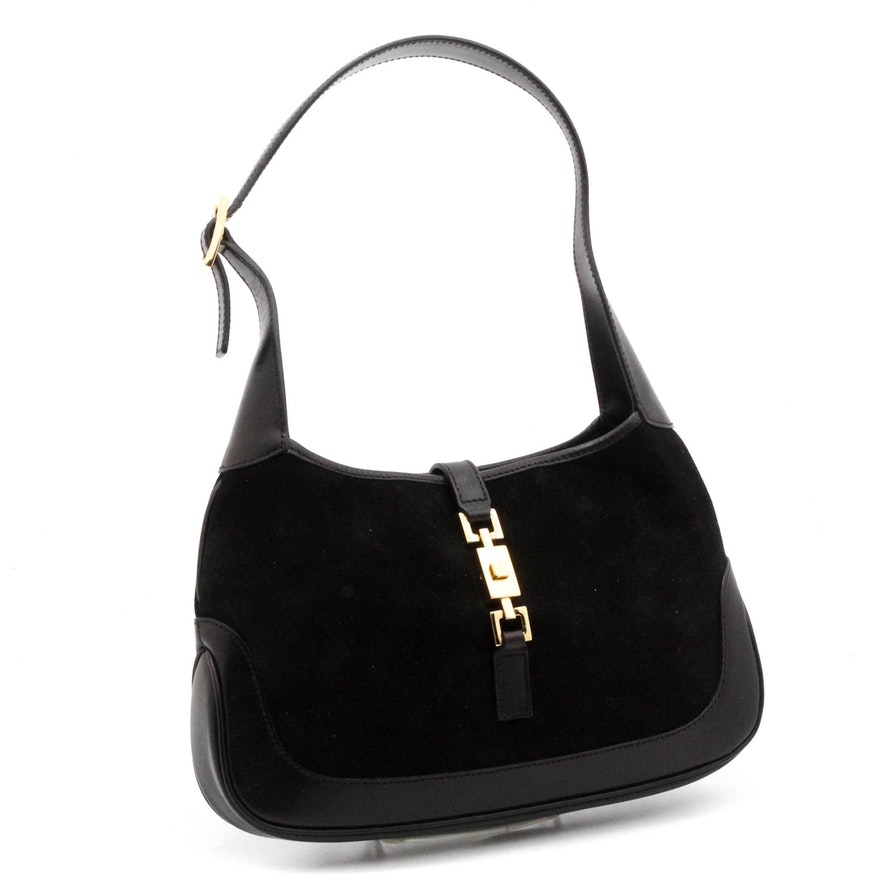 fe674aedfe6d8c Gucci Jackie Black Suede and Leather Shoulder Bag : EBTH
