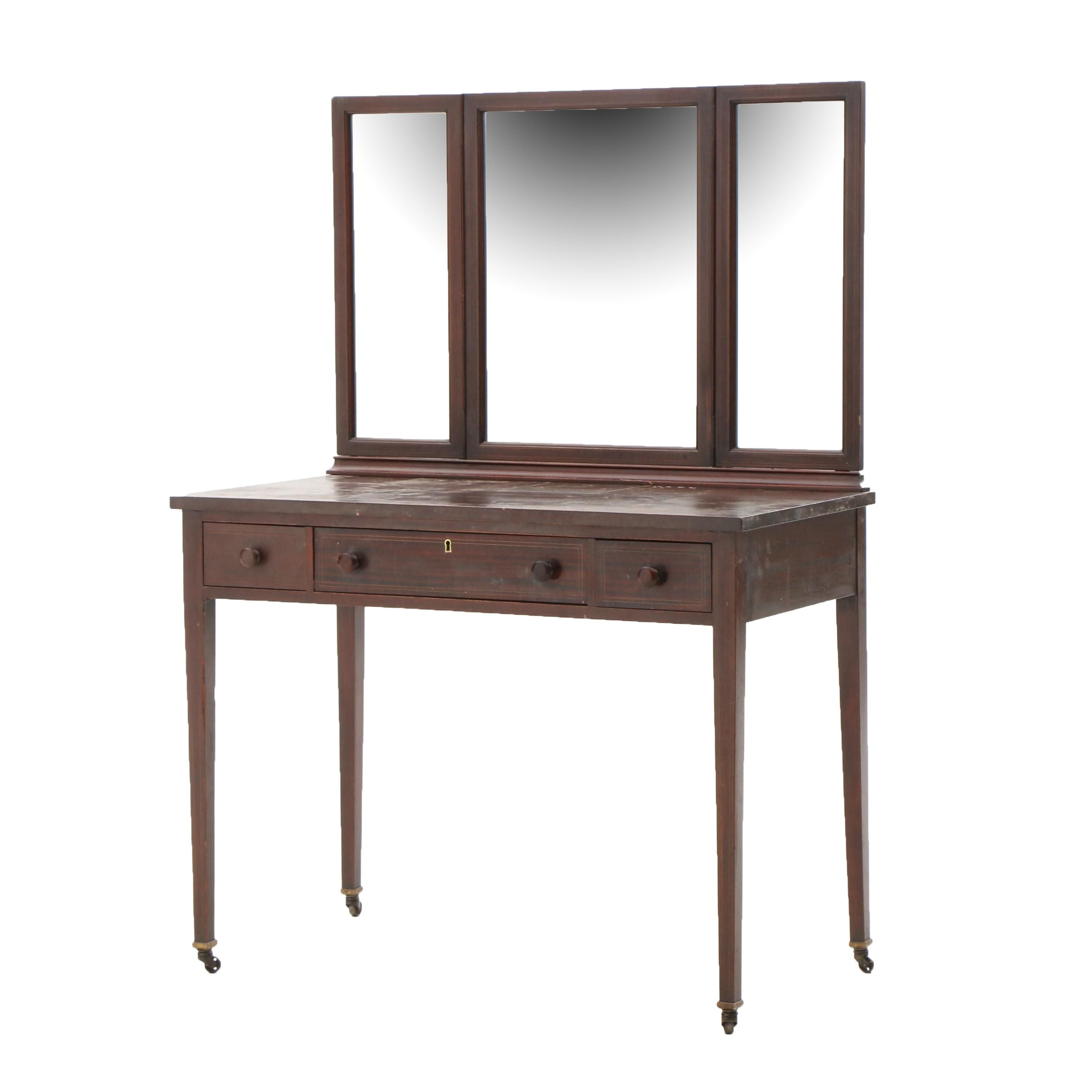 Hepplewhite Style Mahogany and Lacquer Finish Vanity Table