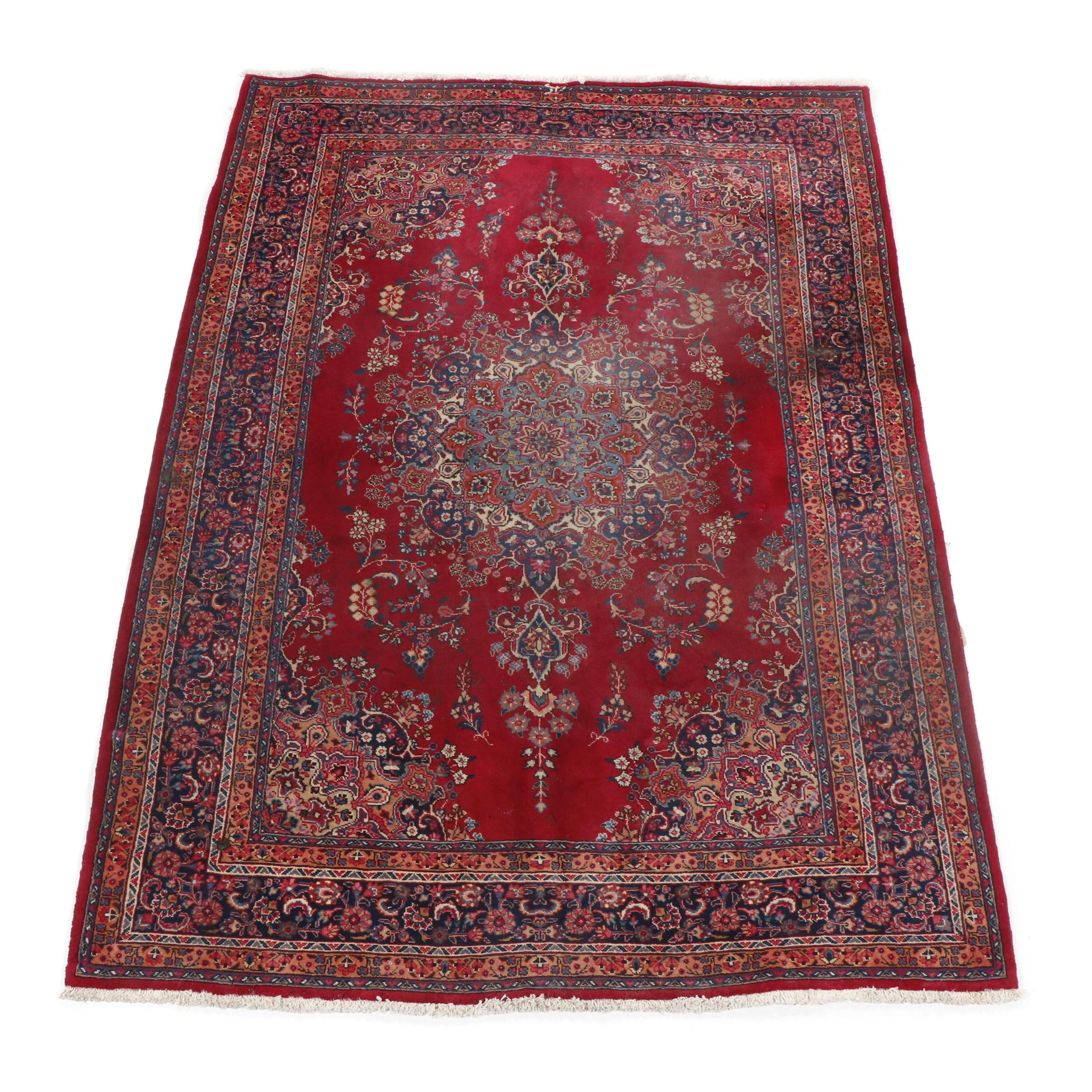 Hand-Knotted Persian Mashhad Wool Rug