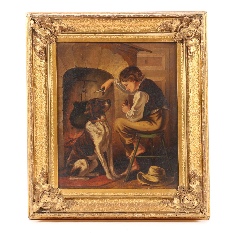20th Century Oil Painting of Boy Feeding Dog