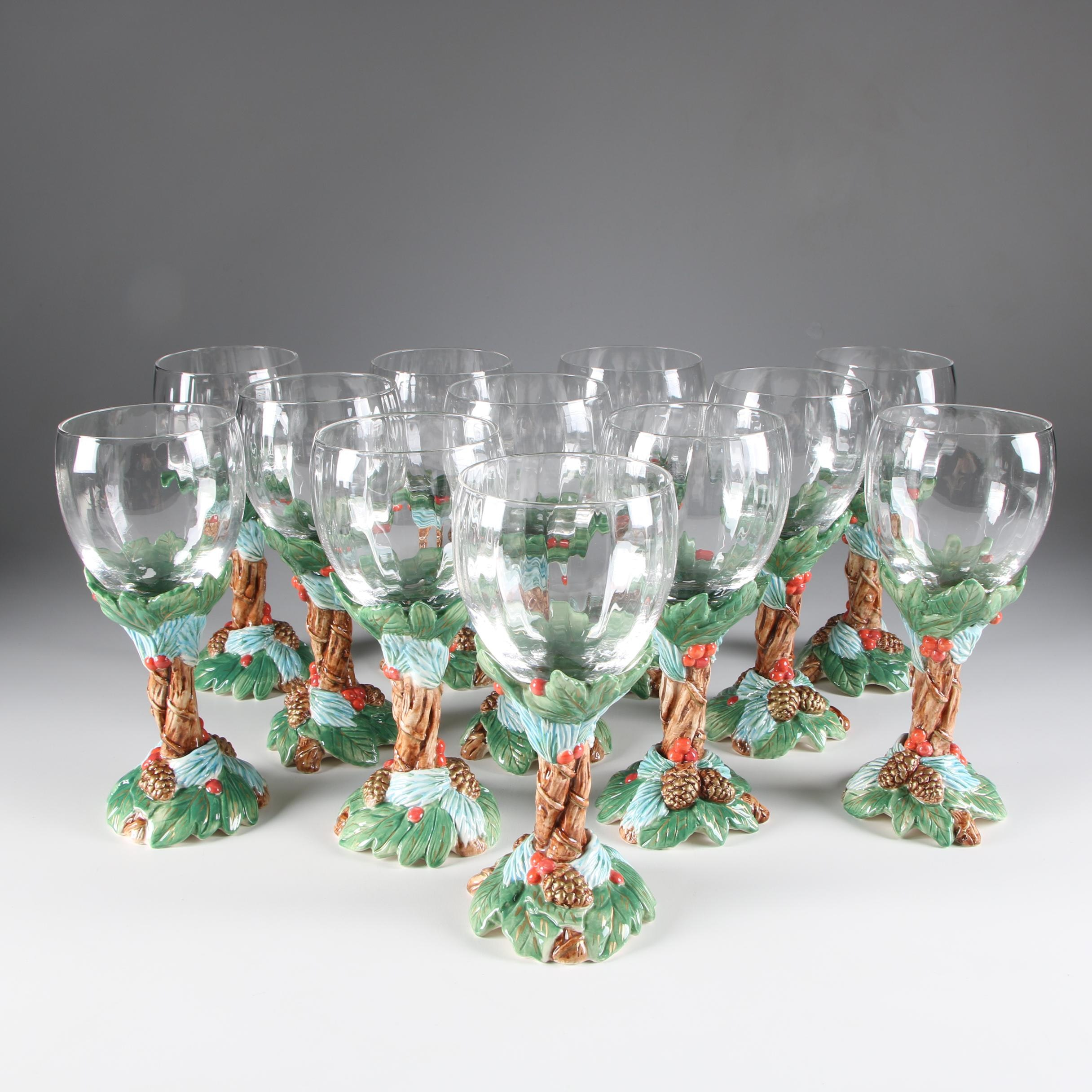 "Fitz & Floyd Stemelation ""Holiday Pine"" Ceramic and Glass Water Goblets"