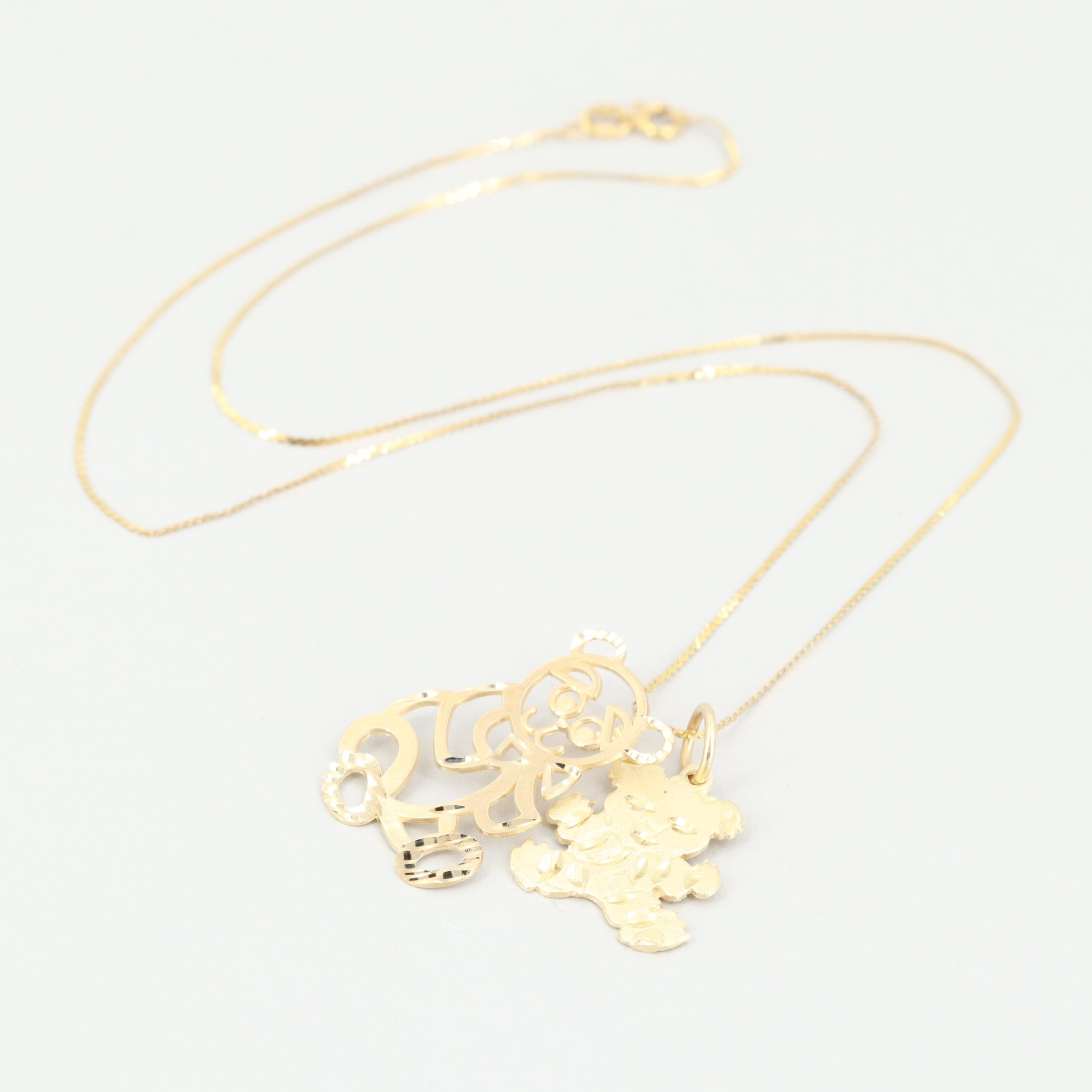 14K Yellow Gold Necklace with Teddy Bear Pendants