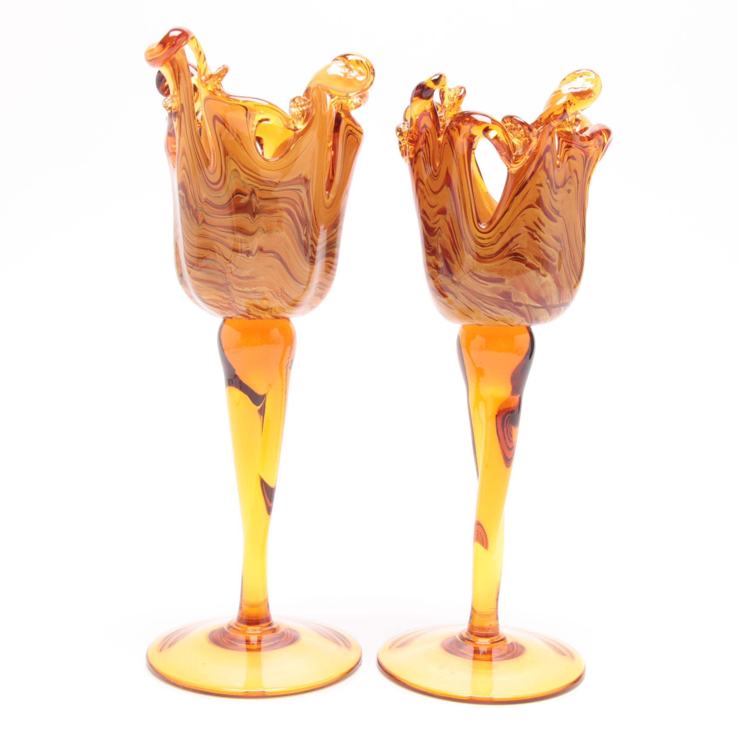Murano Italian Art Glass Candleholders