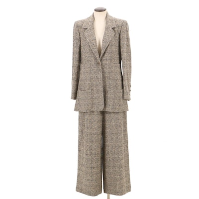 Chanel Boutique Fall/Winter 1997 Black and Tan Tweed Pantsuit