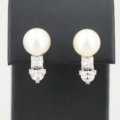Circa 1940s 14K White Gold Cultured Pearl and 1.25 CTW Diamond Earrings