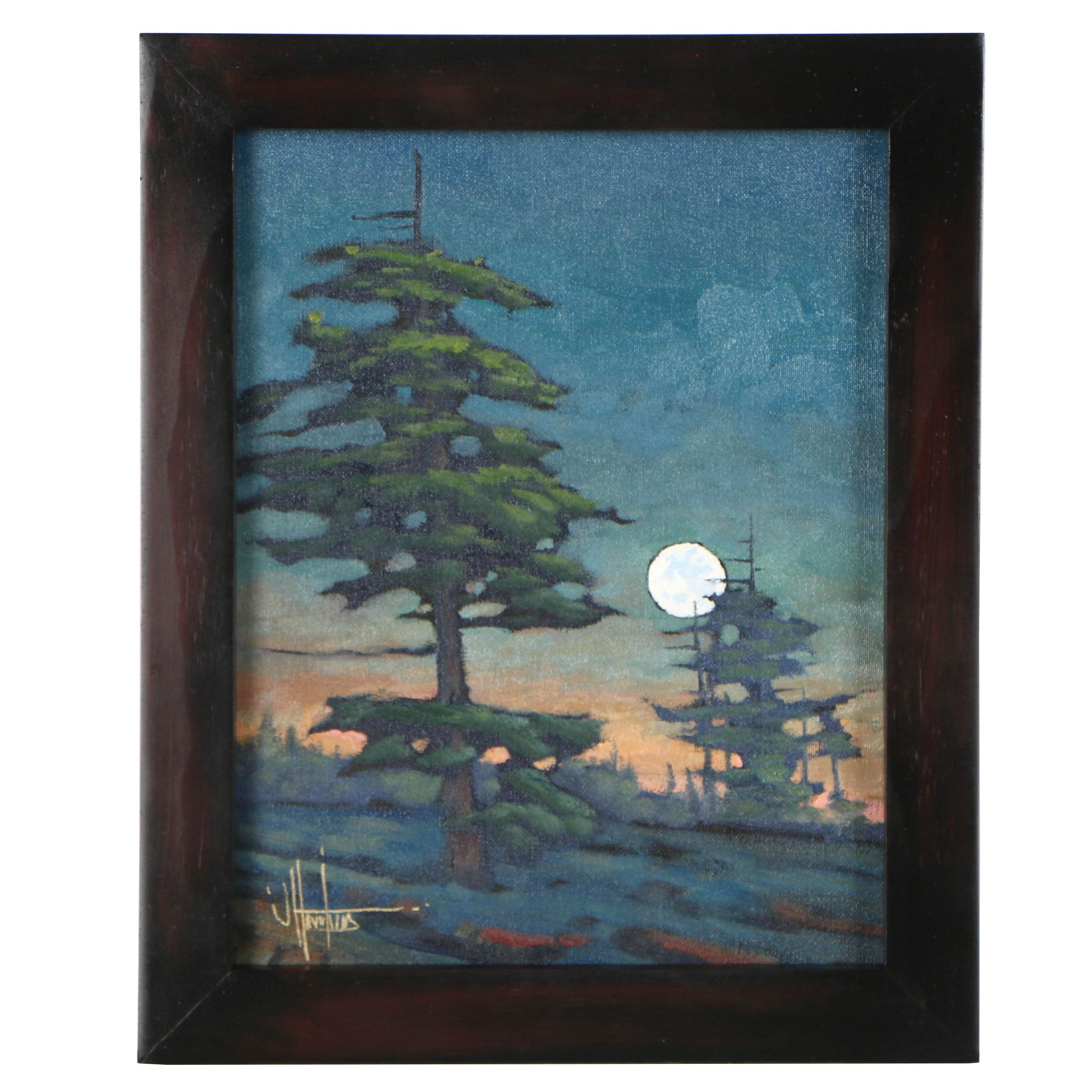 "William Hawkins Oil Painting ""Breakout Moon"""