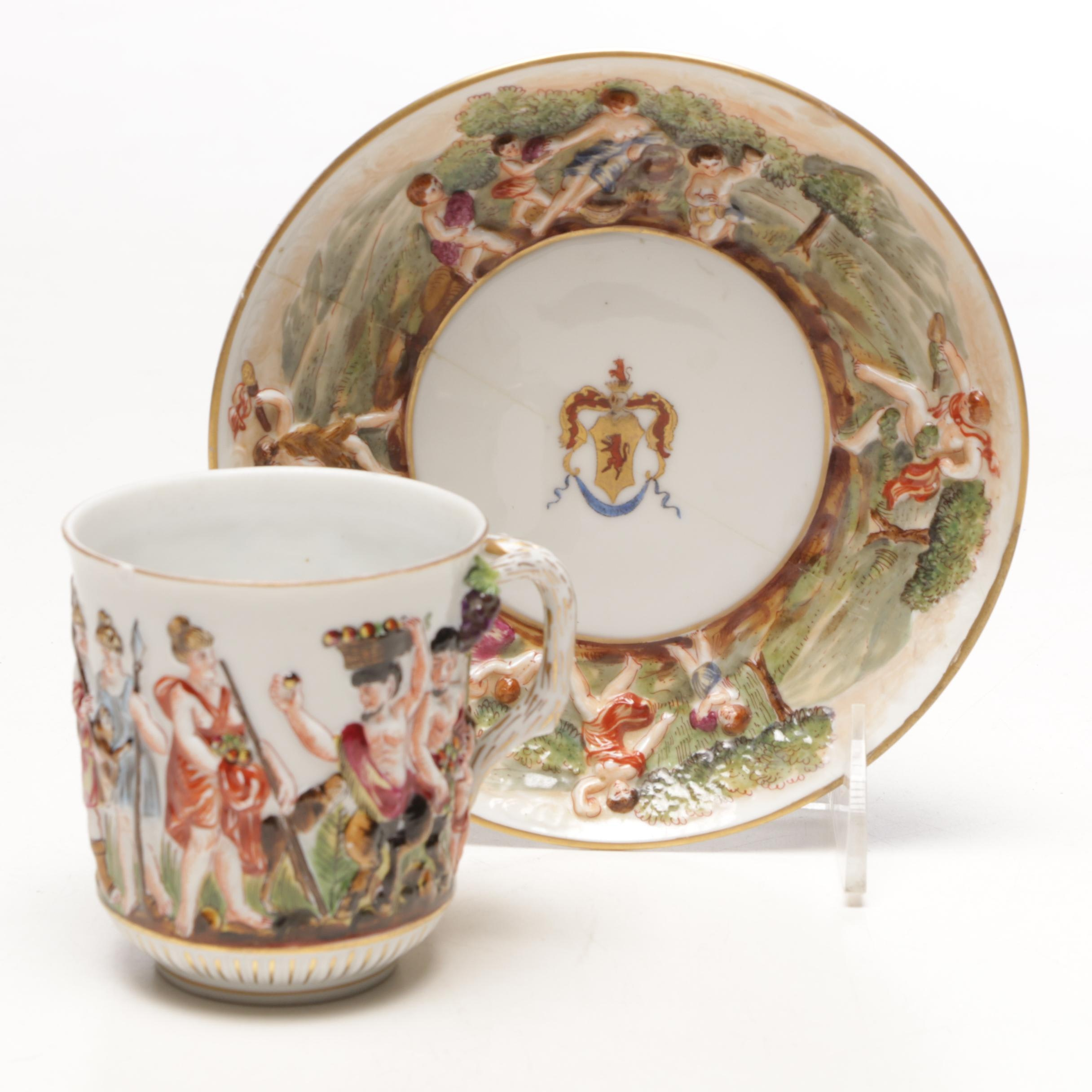 Antique Capodimonte Teacup and Saucer with Hand Painted Bas-Relief Designs