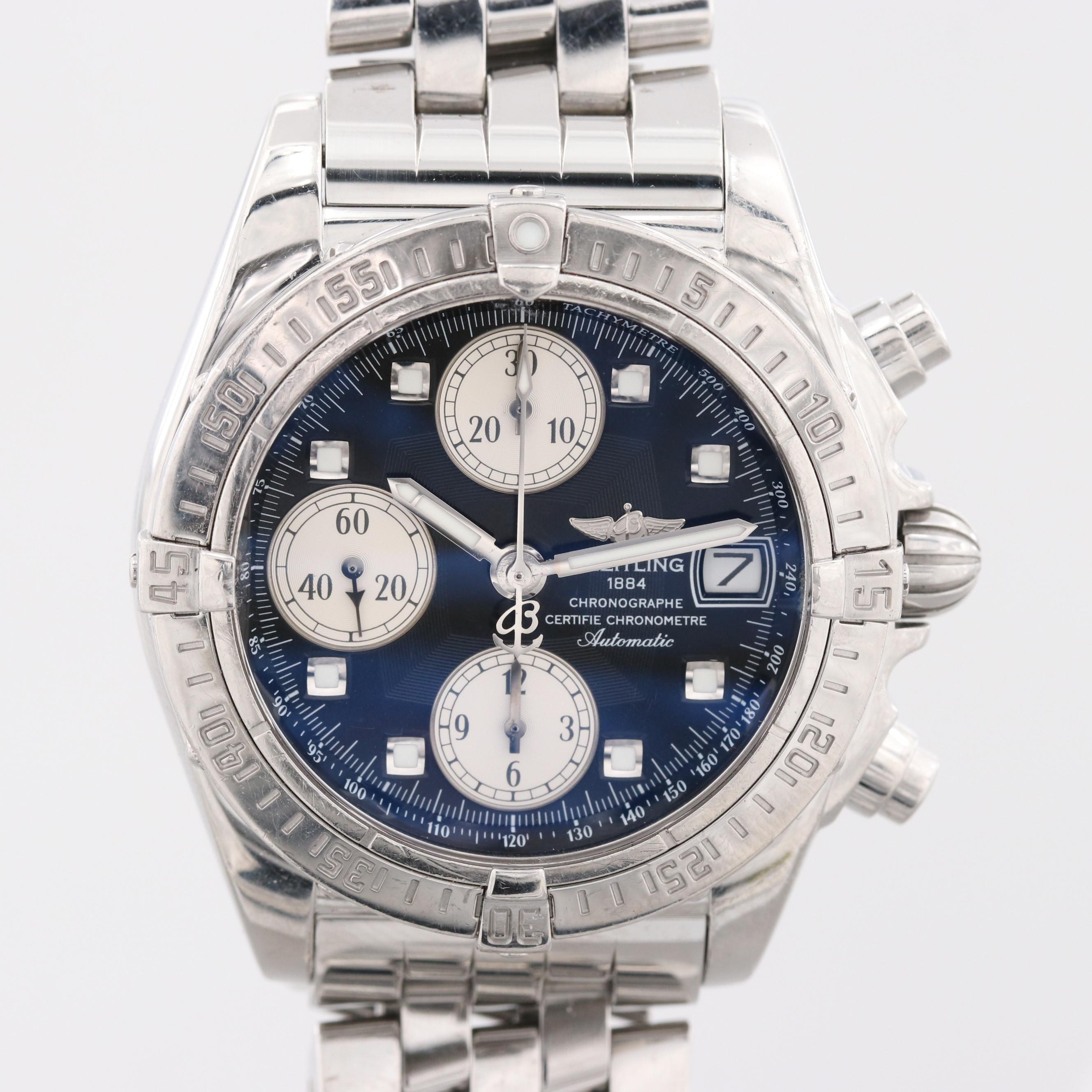 Breitling Chrono Cockpit Stainless Steel Chronograph Automatic Wristwatch