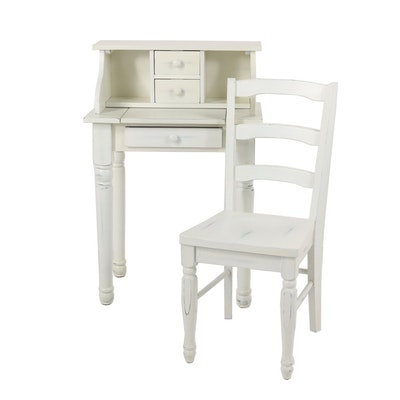 Painted Wooden Ladies Writing Desk and Chair, 20th/21st Century