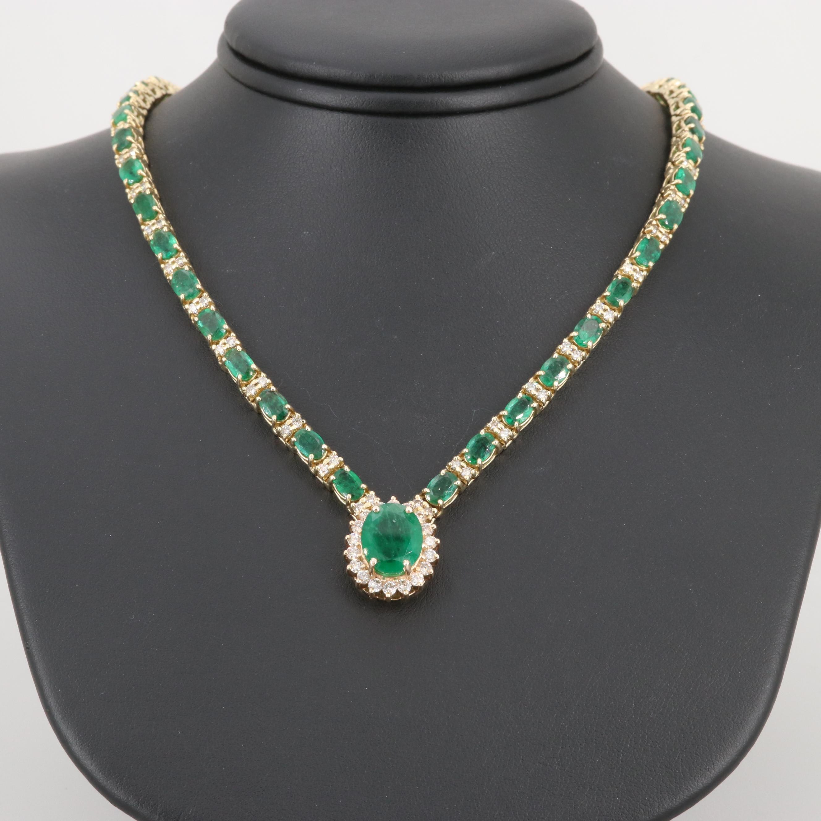 14K Yellow Gold 3.44 CT Emerald and 3.07 CTW Diamond Necklace