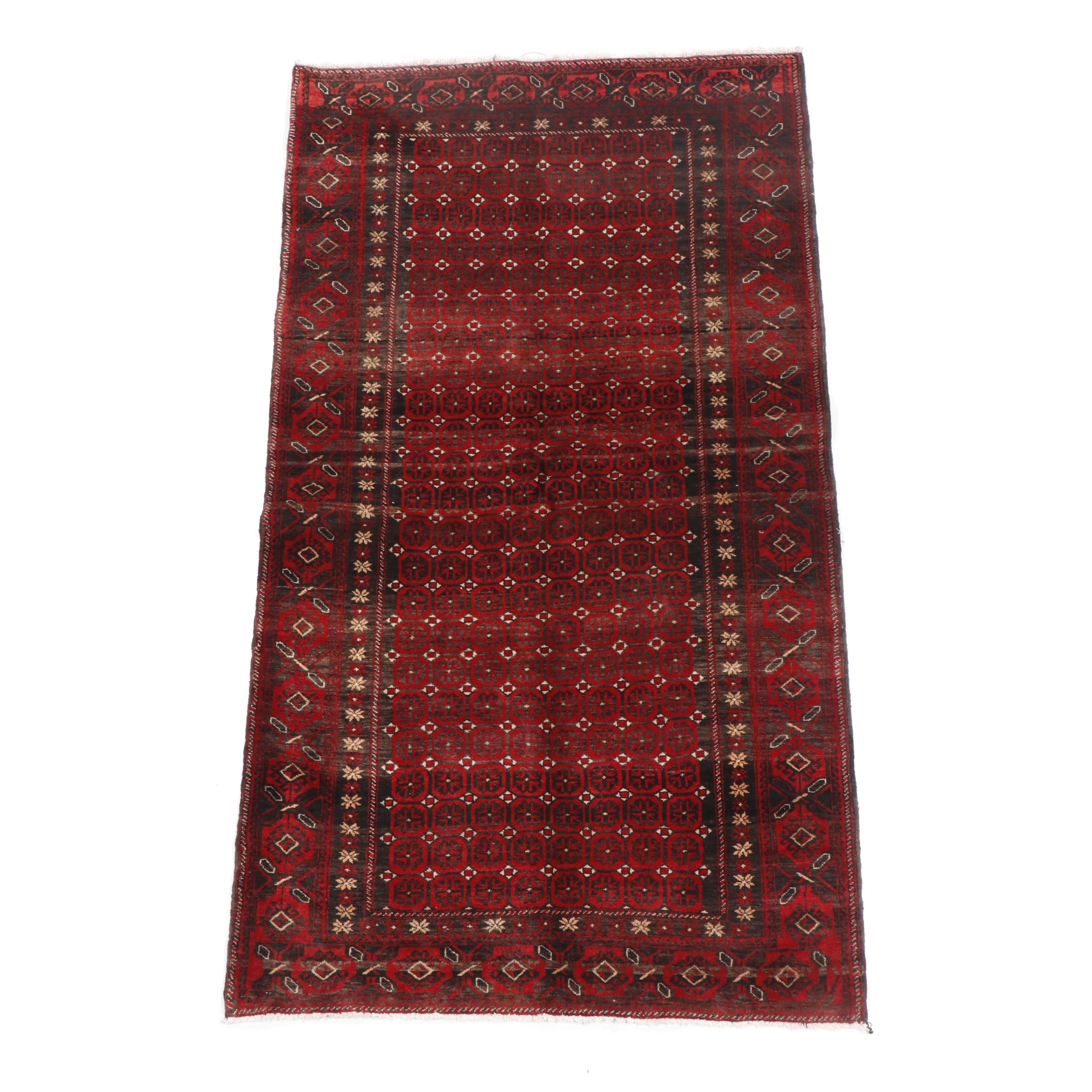 Hand-Knotted Baluchi Afshan Wool Rug