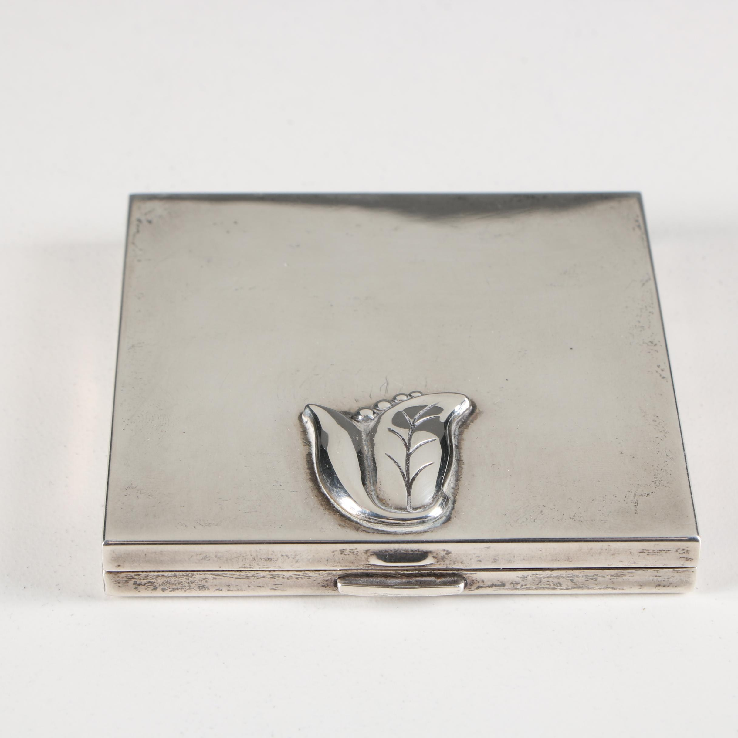 """Georg Jensen """"Blossom"""" Sterling Silver Compact"""