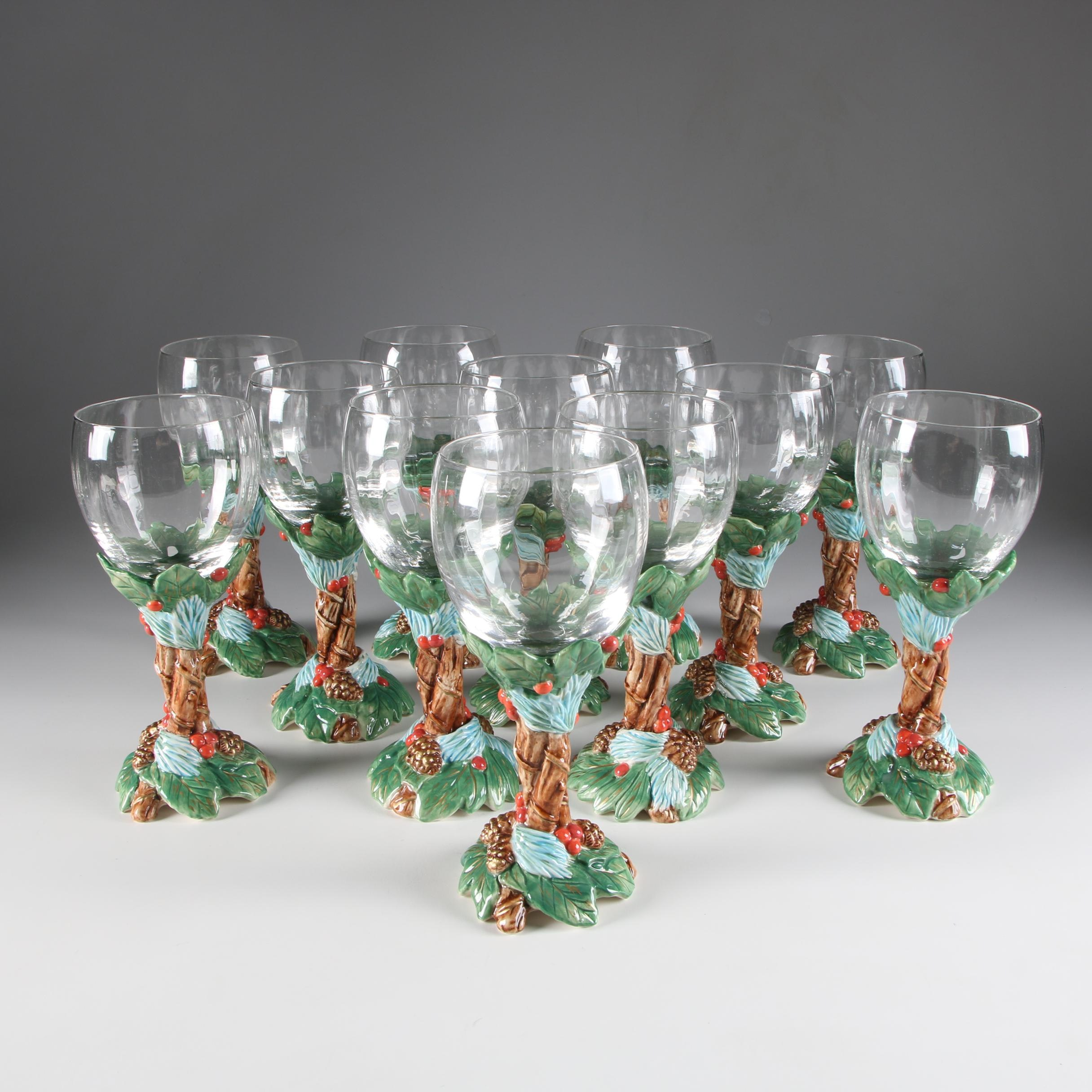 """Fitz & Floyd Stemelation """"Holiday Pine"""" Ceramic and Glass Water Goblets"""