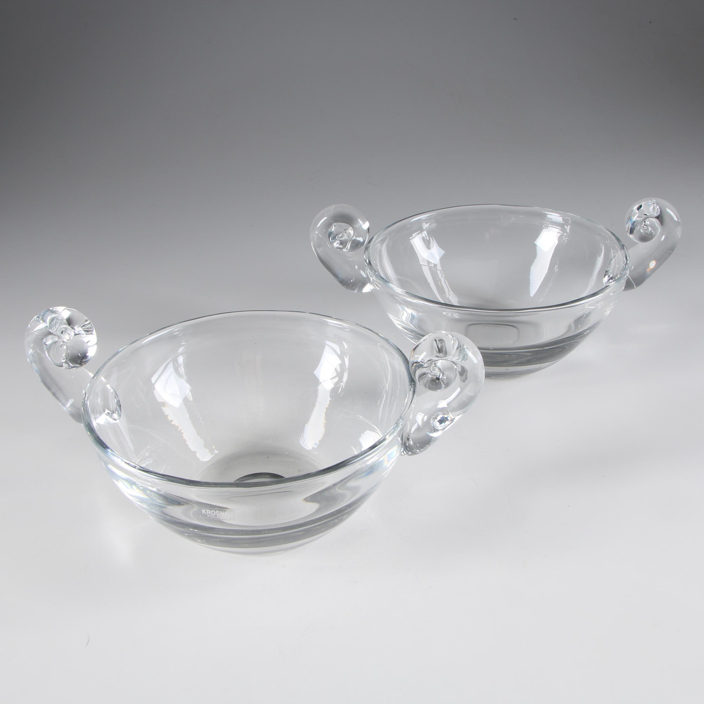 Polish Krosno Art Glass Bowls with Scroll Handles