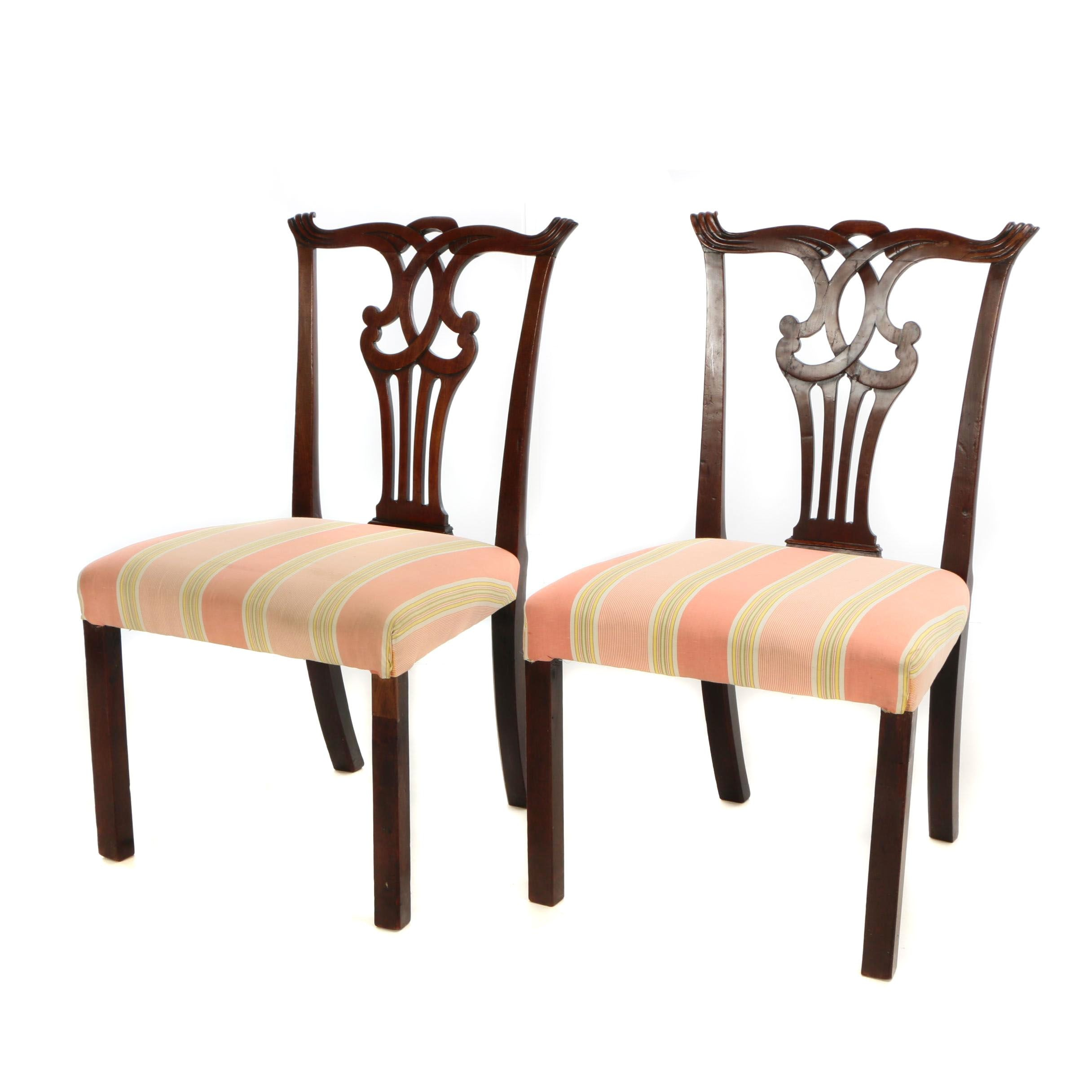 Pair of Massachusetts Chippendale Mahogany Side Chairs, 18th Century and Later