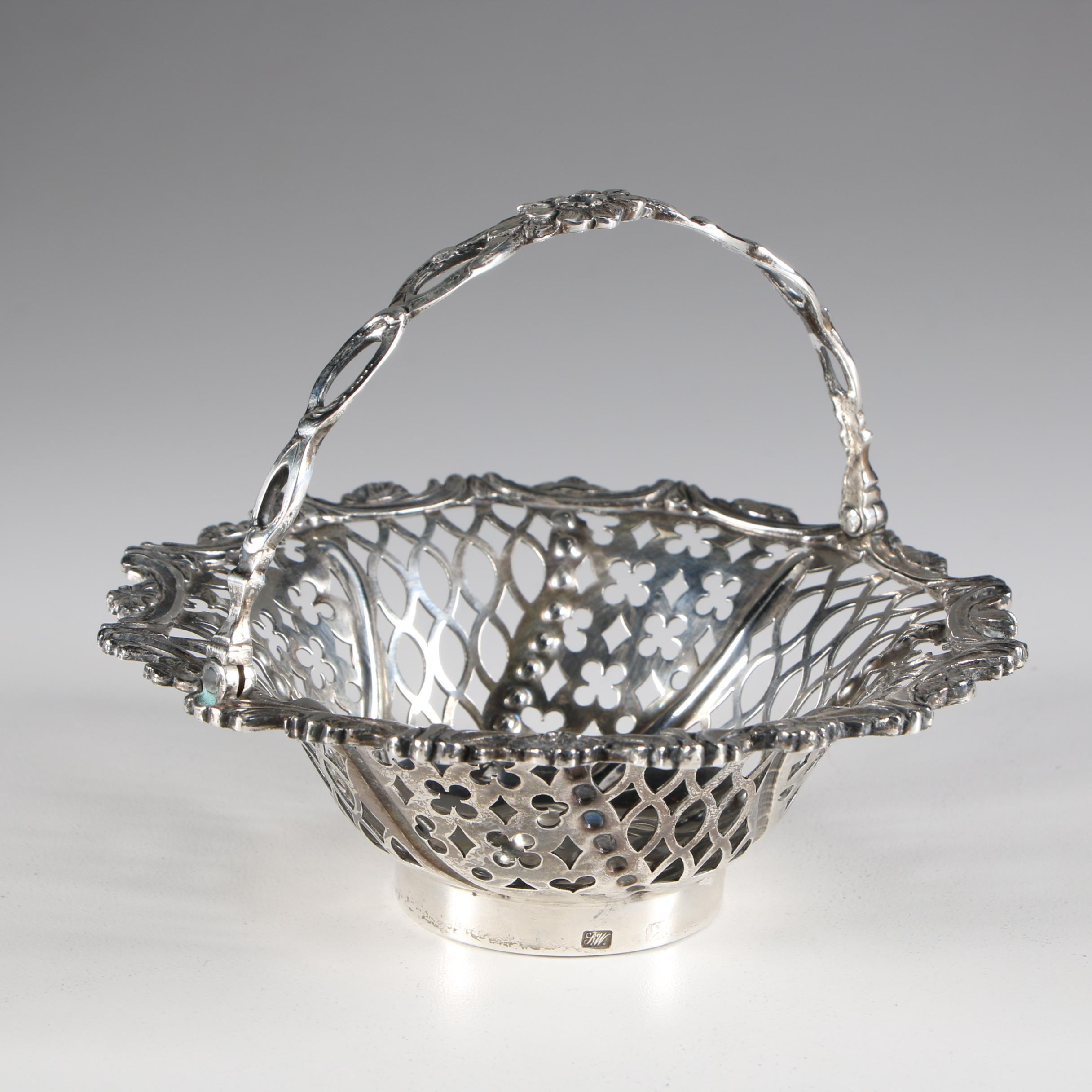 English Sterling Silver Pierced Basket, Early 19th Century