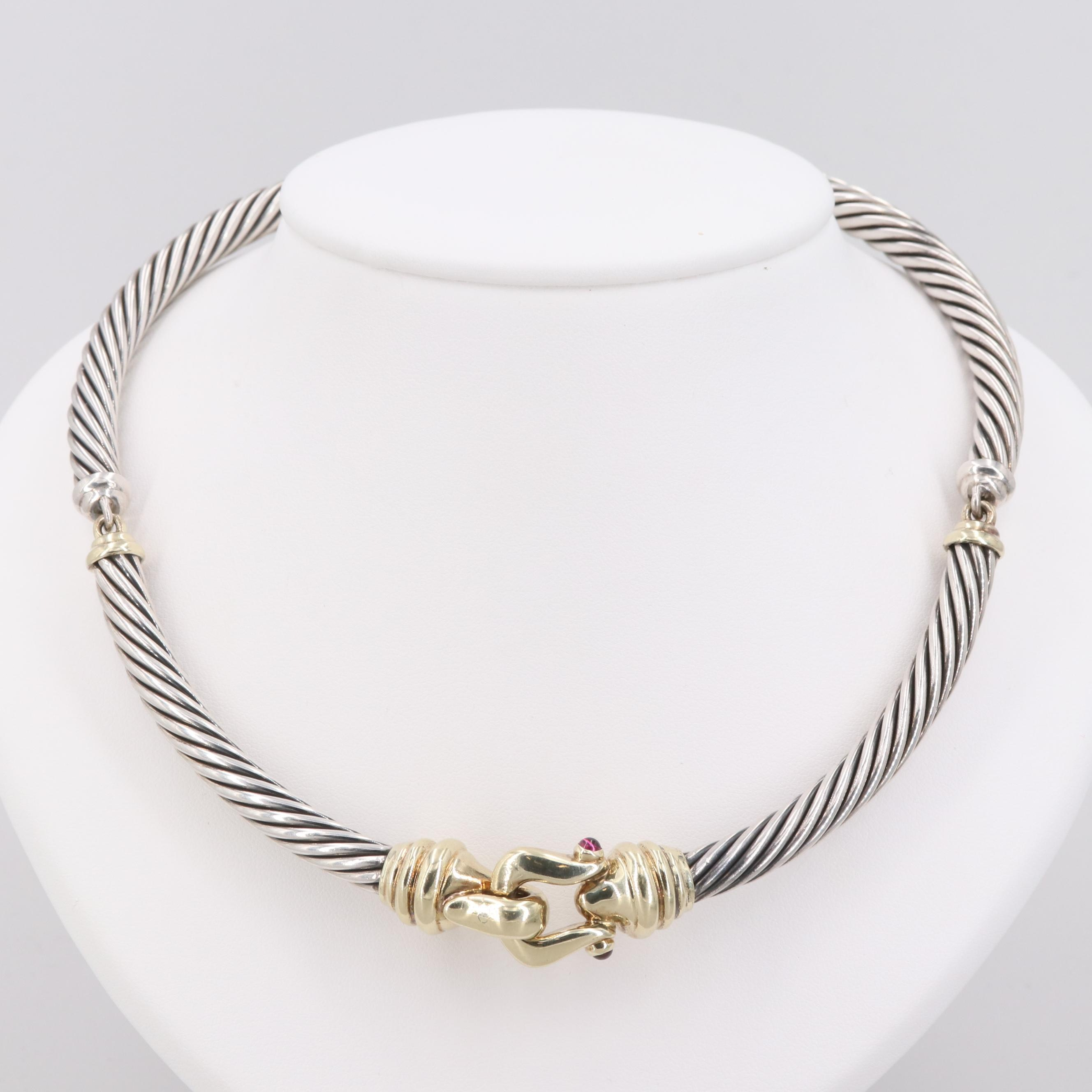 David Yurman Sterling Silver Garnet Necklace with 14K Yellow Gold Accents